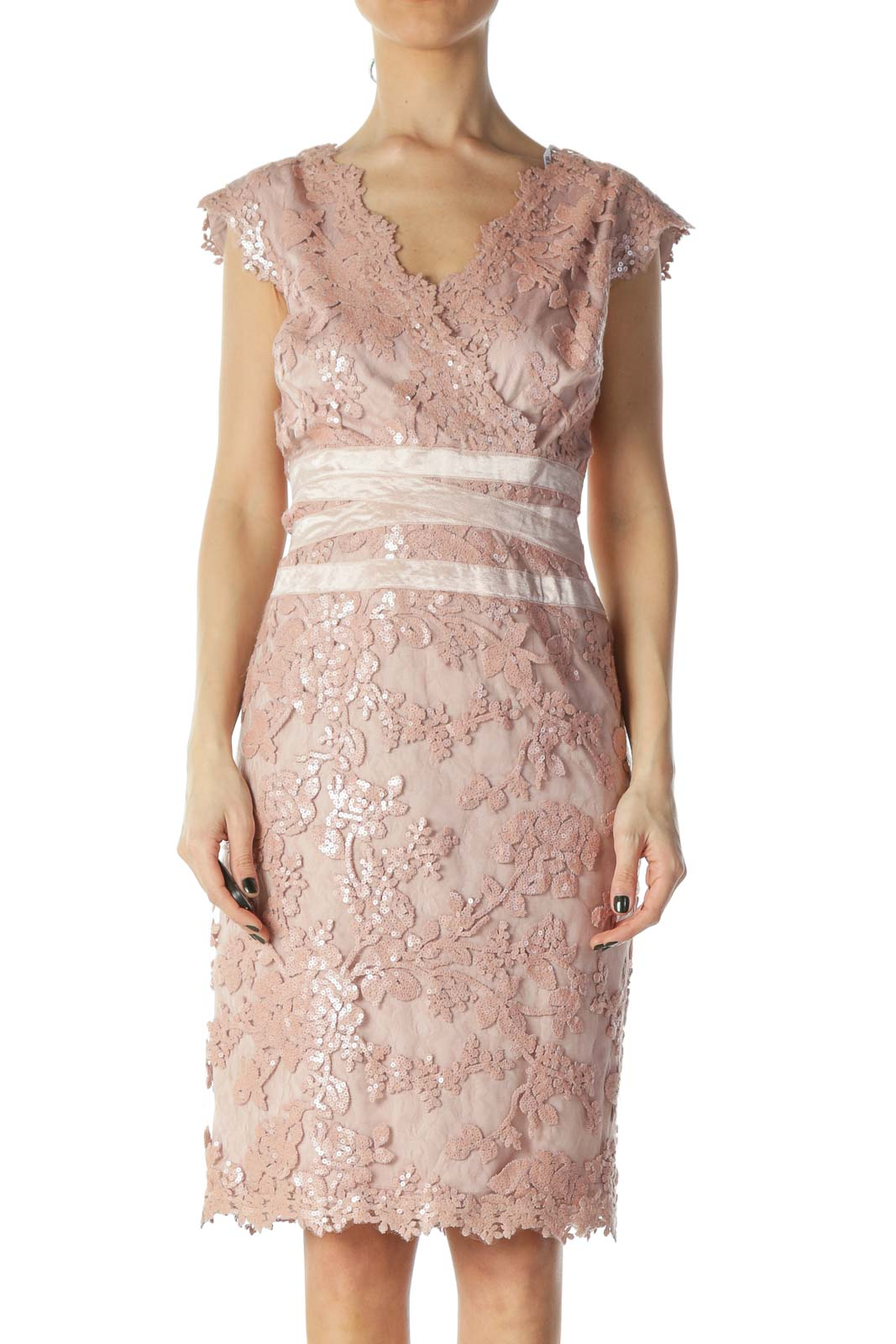 Pink Sequin and Lace Cocktail Dress Front