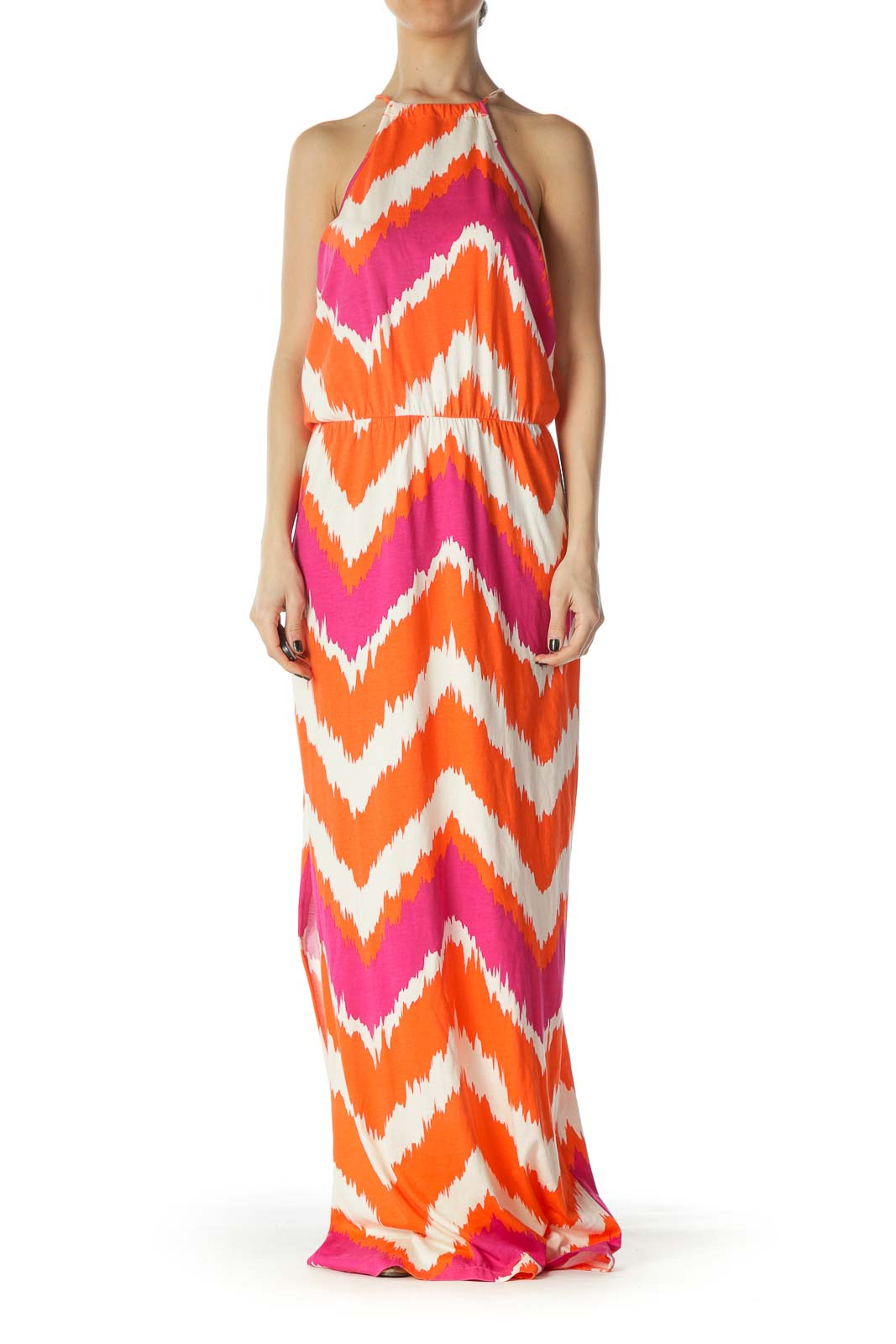 Hot Pink and Orange Halter Maxi Dress Front
