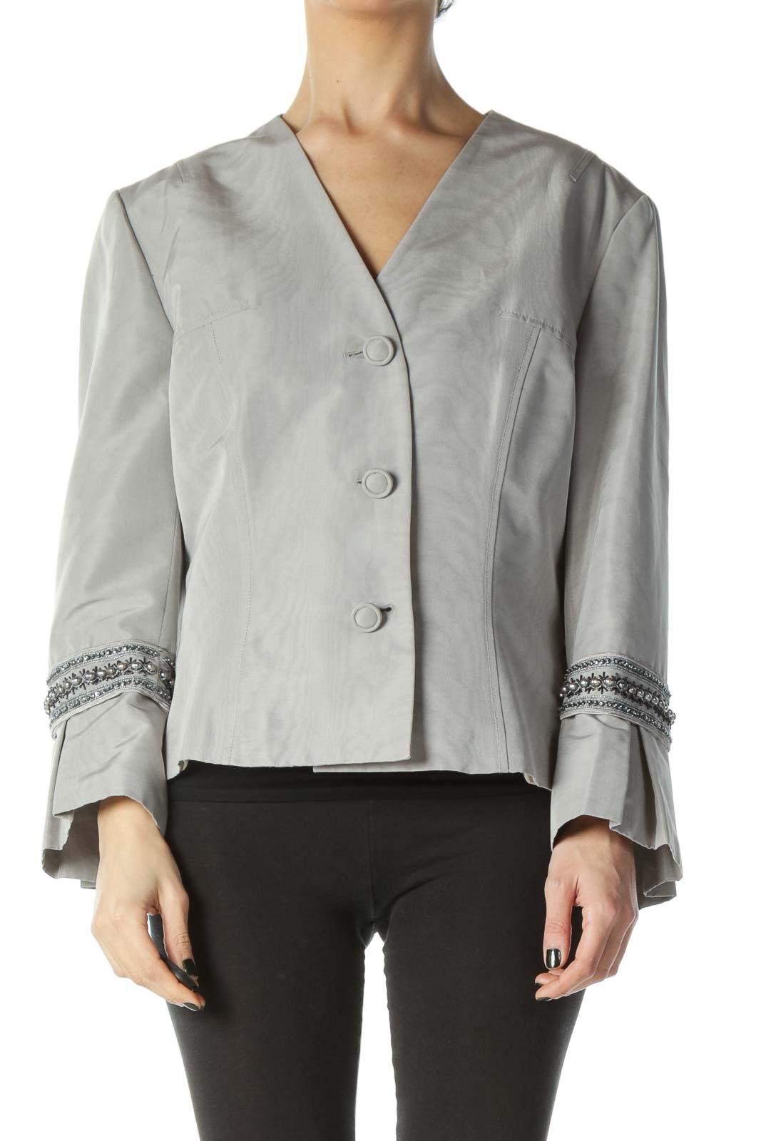 Gray Cotton Silk Sleeve Embellished Jacket Front