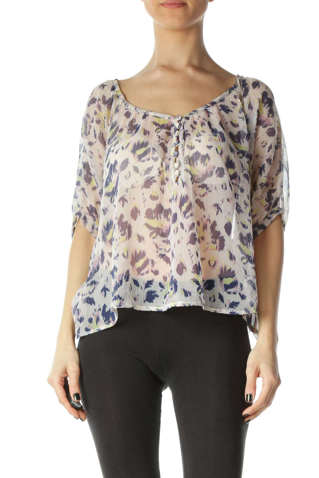 Multicolored Animal Print See-Through Short Blouse Front