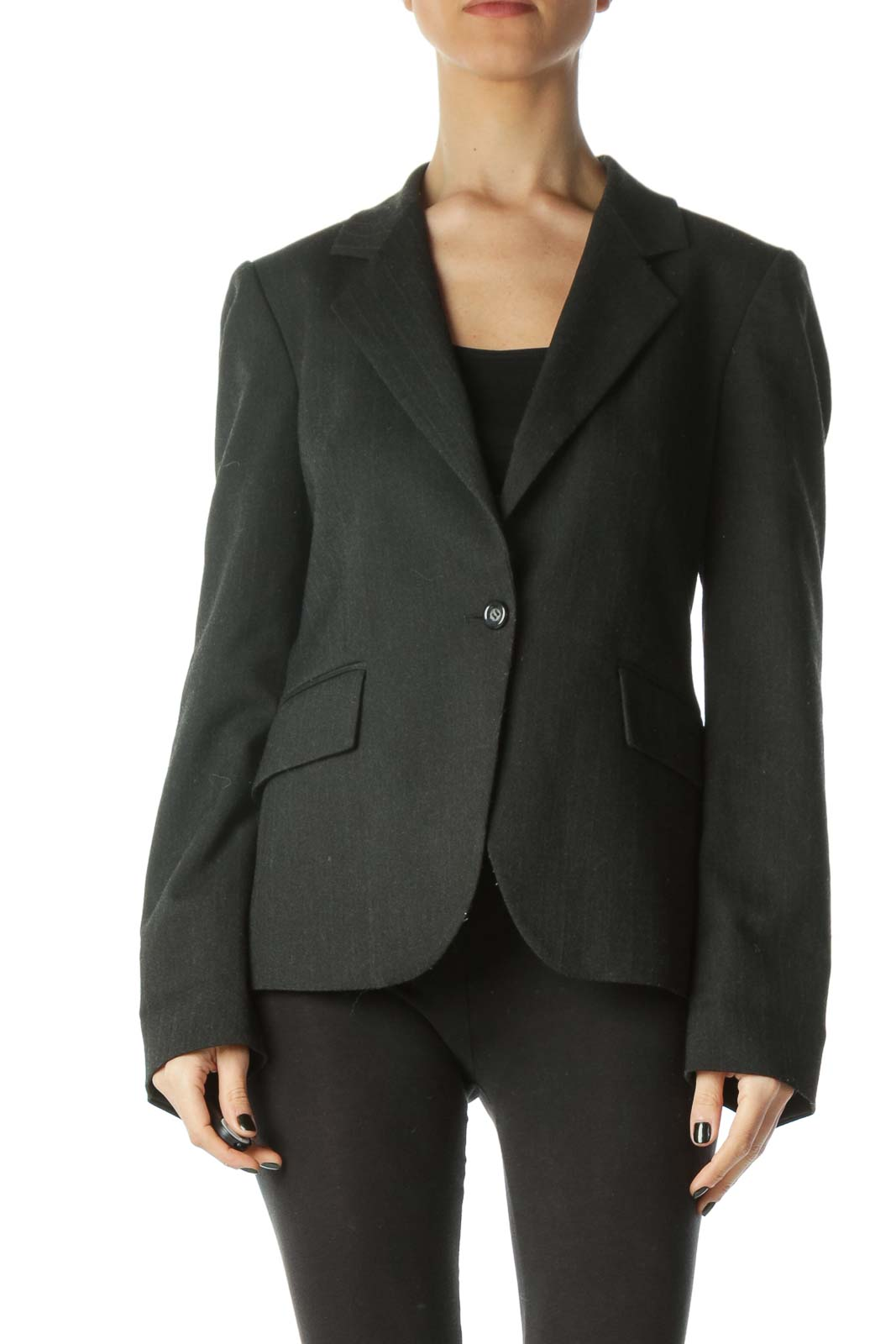 Dark Gray Striped Pocketed V-Neck Blazer Front