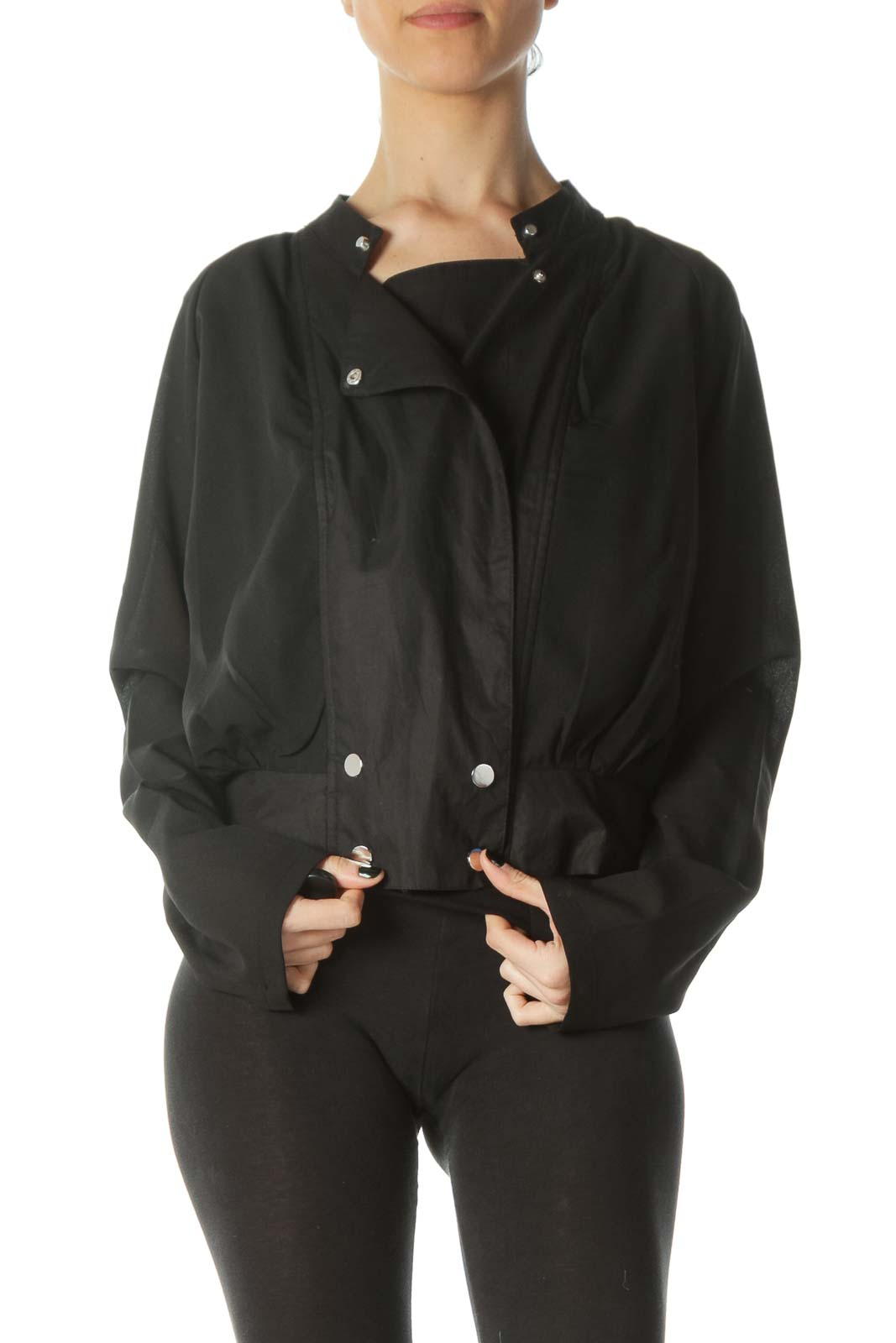 Black Snap Buttons Light Fitted Jacket Front