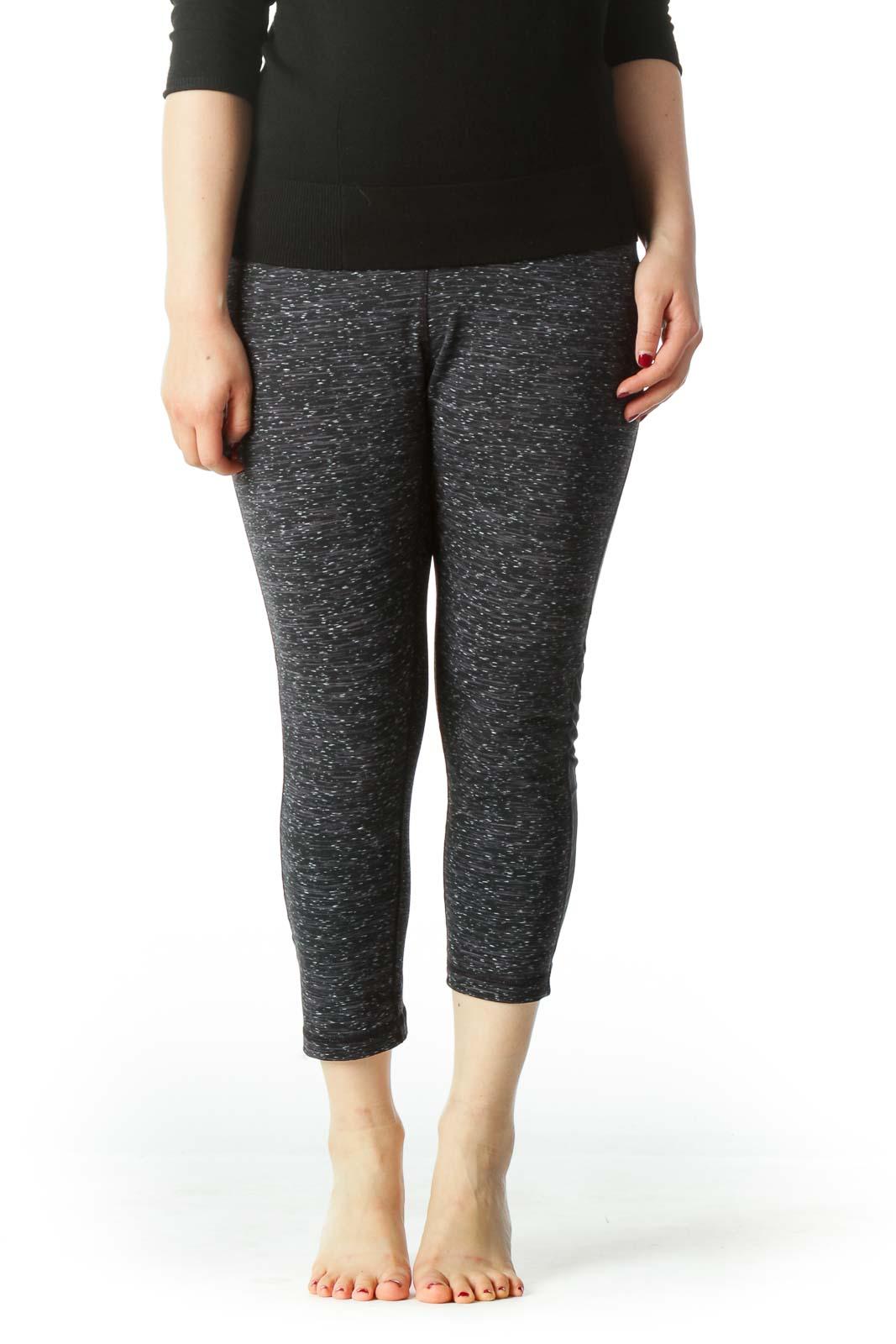 Black and Gray Stretch Capri Yoga Pants  Front