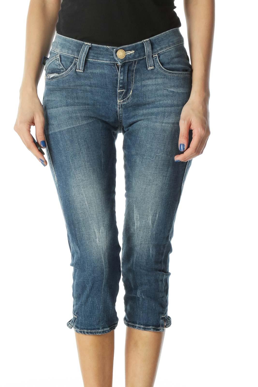 Embellished Cropped Skinny Jeans Front
