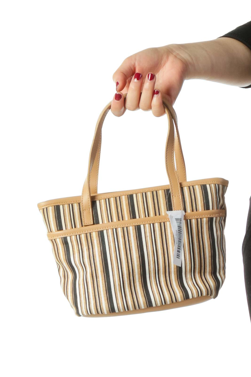 Beige Navy and Cream Striped Tote Bag Front