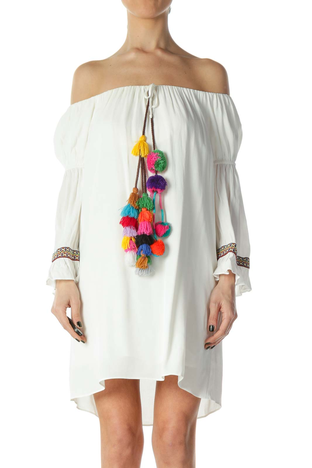 White Off-Shoulder Boho Pom-Pom Detail Dress Front