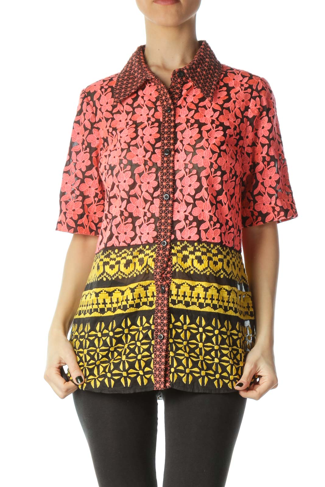 Multicolor Flower Embroidered Blouse Front