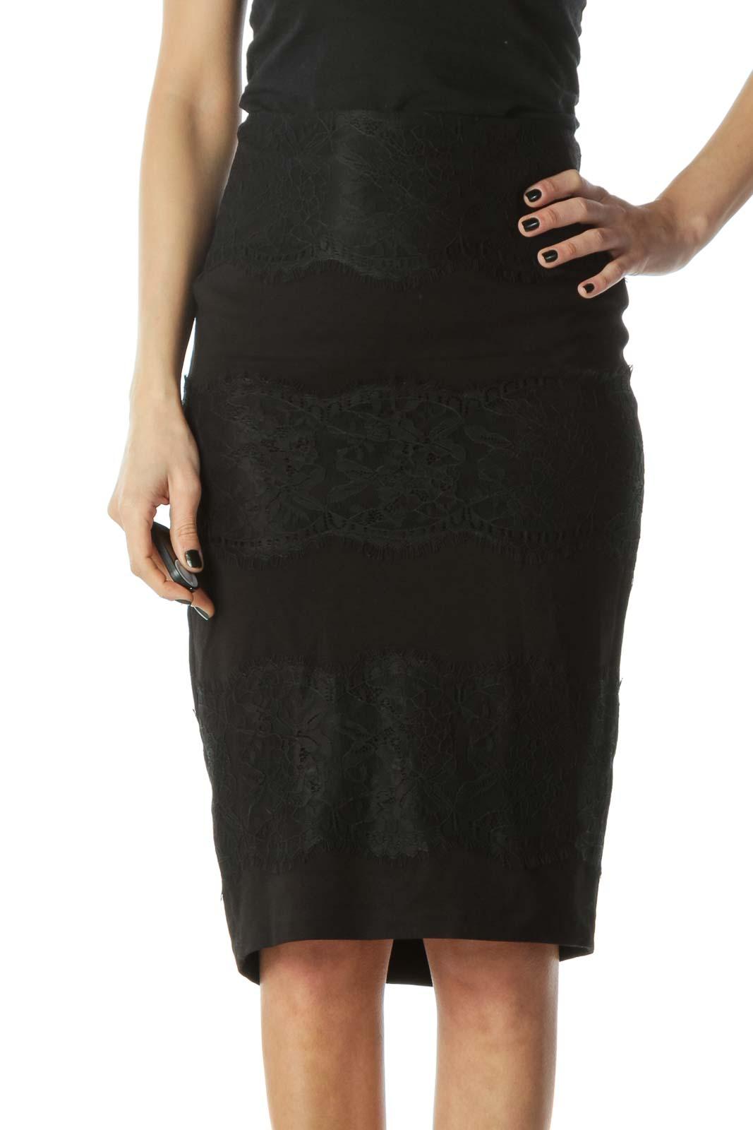 Black Lace Pencil Skirt  Front
