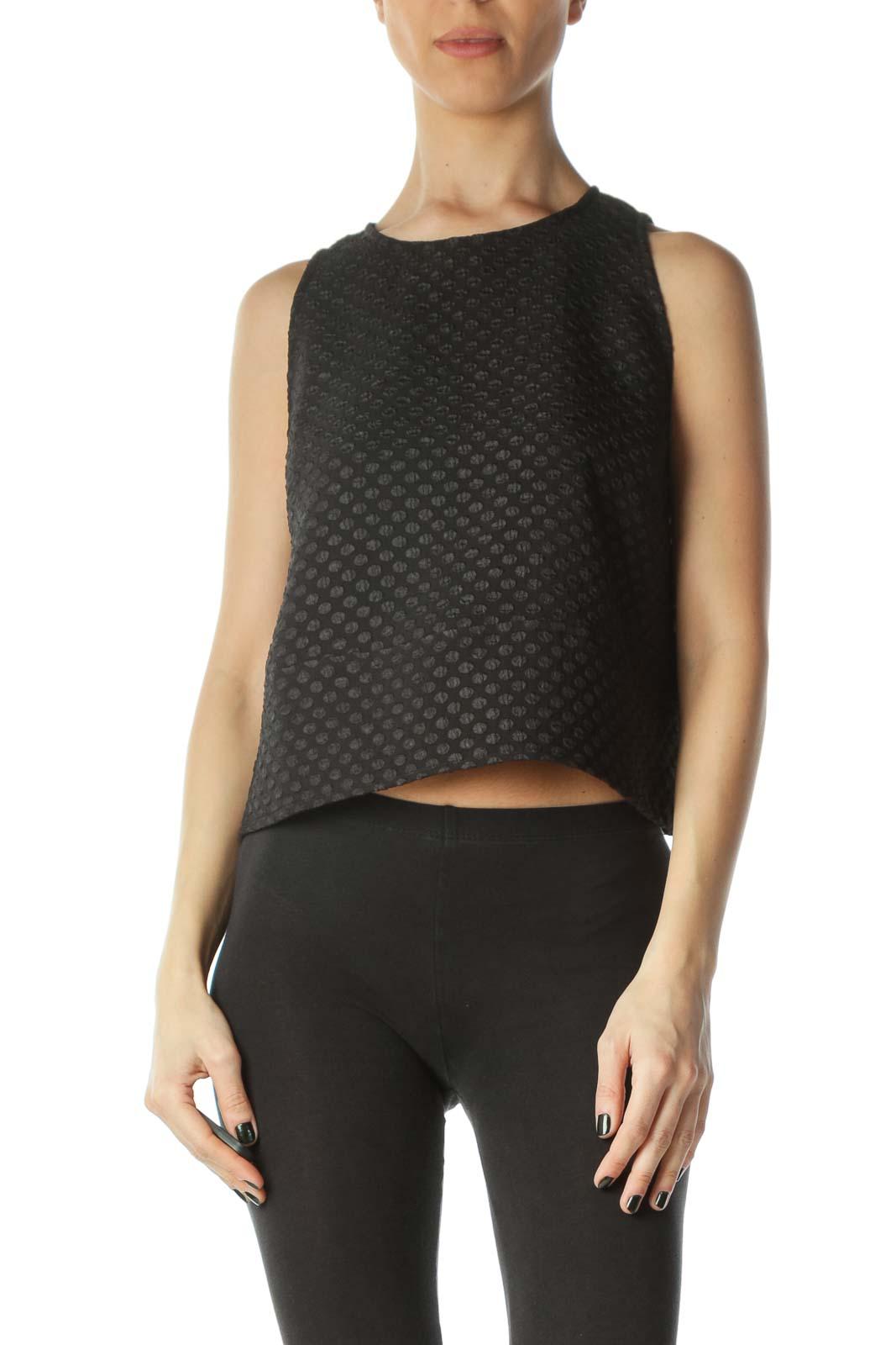 Black Crop Sleeveless Dress Shirt Front
