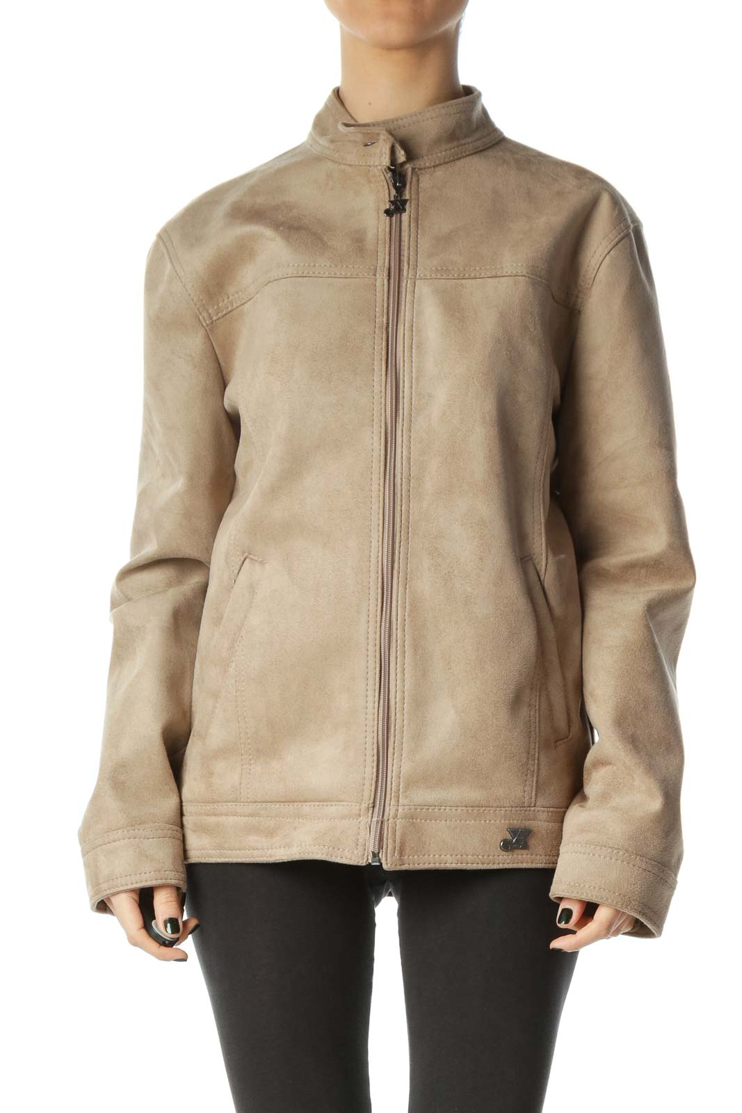 Beige Suede Body Pocketed Zippered Jacket Front