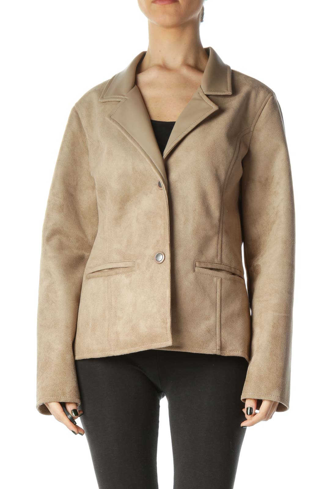 Beige Suede Buttoned Pocketed Jacket Front