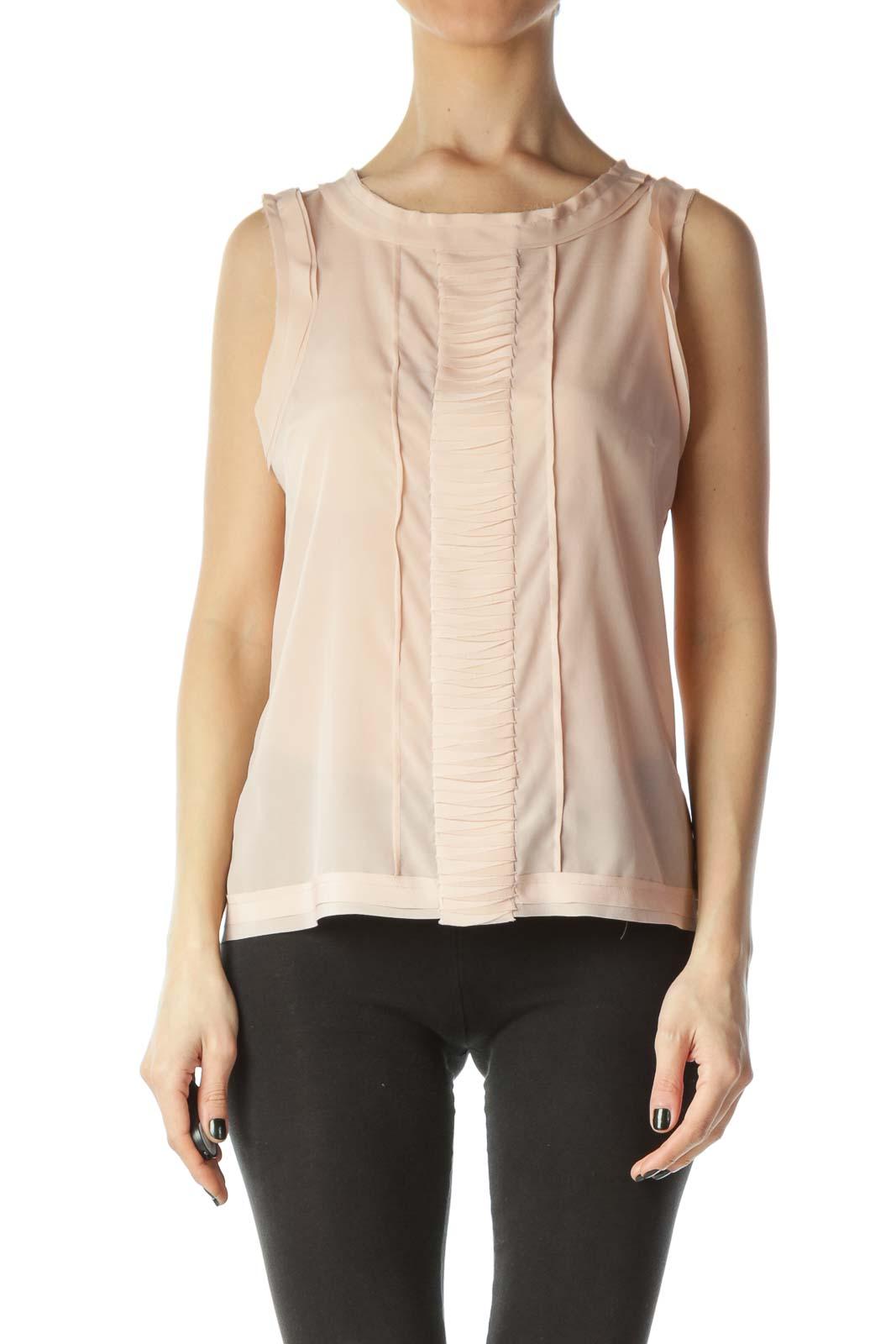 Pink Sleeveless Dress Shirt Front
