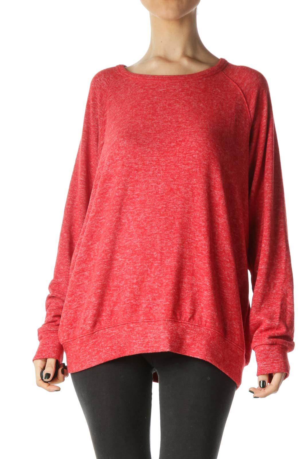 Red Mottled Pullover Front