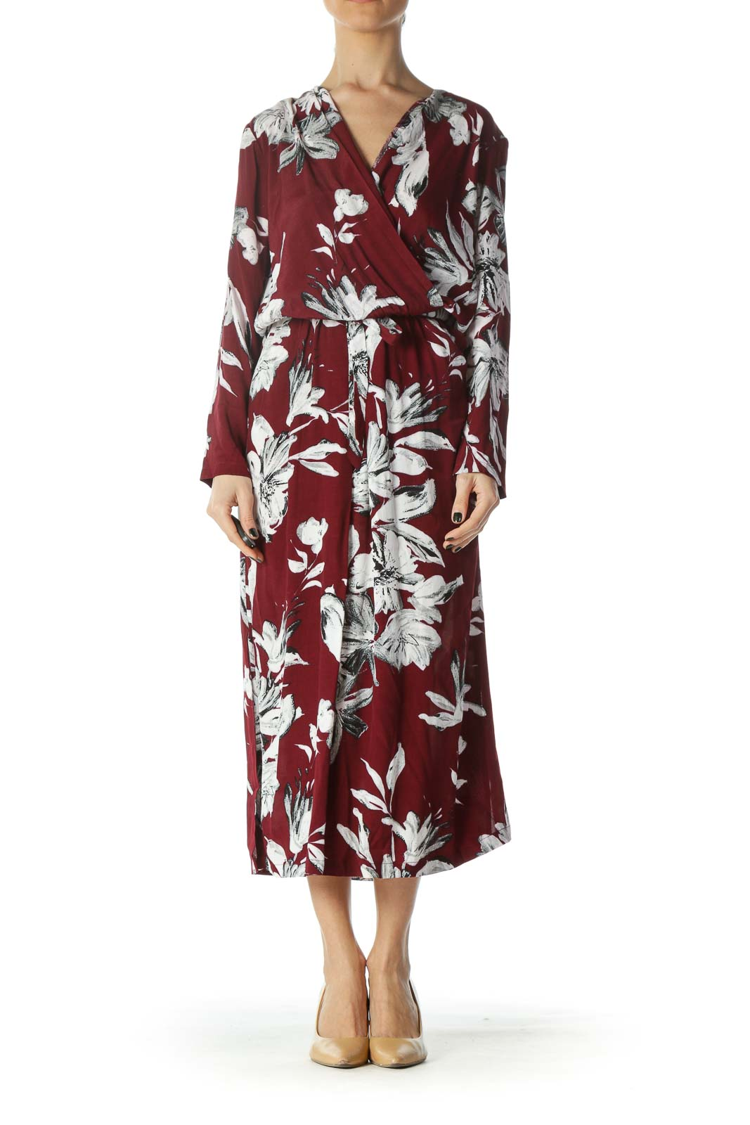 New Red Black and White Floral Dress  Front