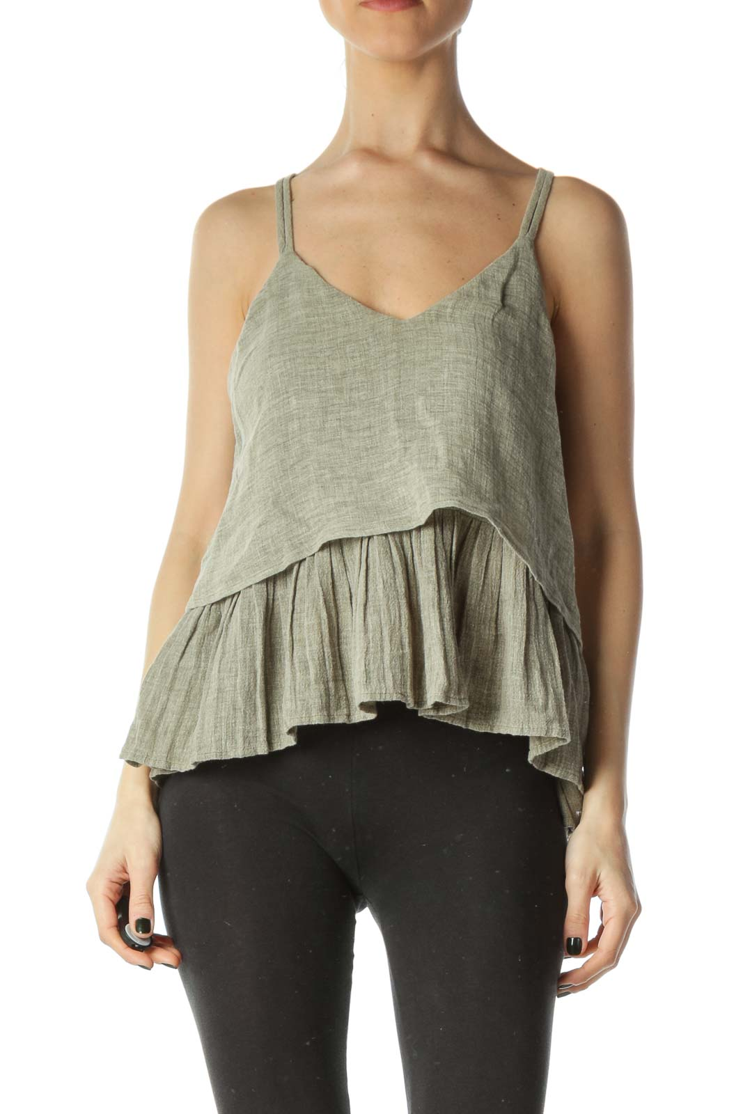 Gray 100% Linen Sleeveless Knit Flared Blouse Front