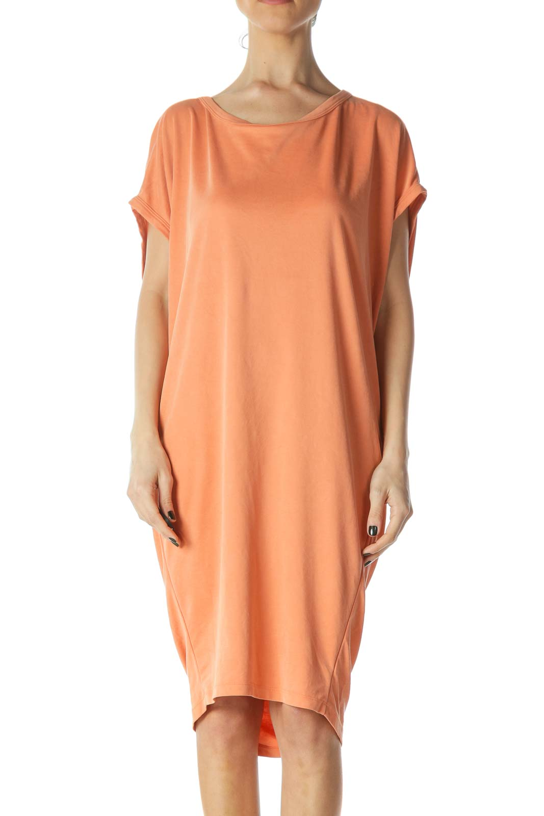 Orange Oversized Open Back Jersey Dress Front