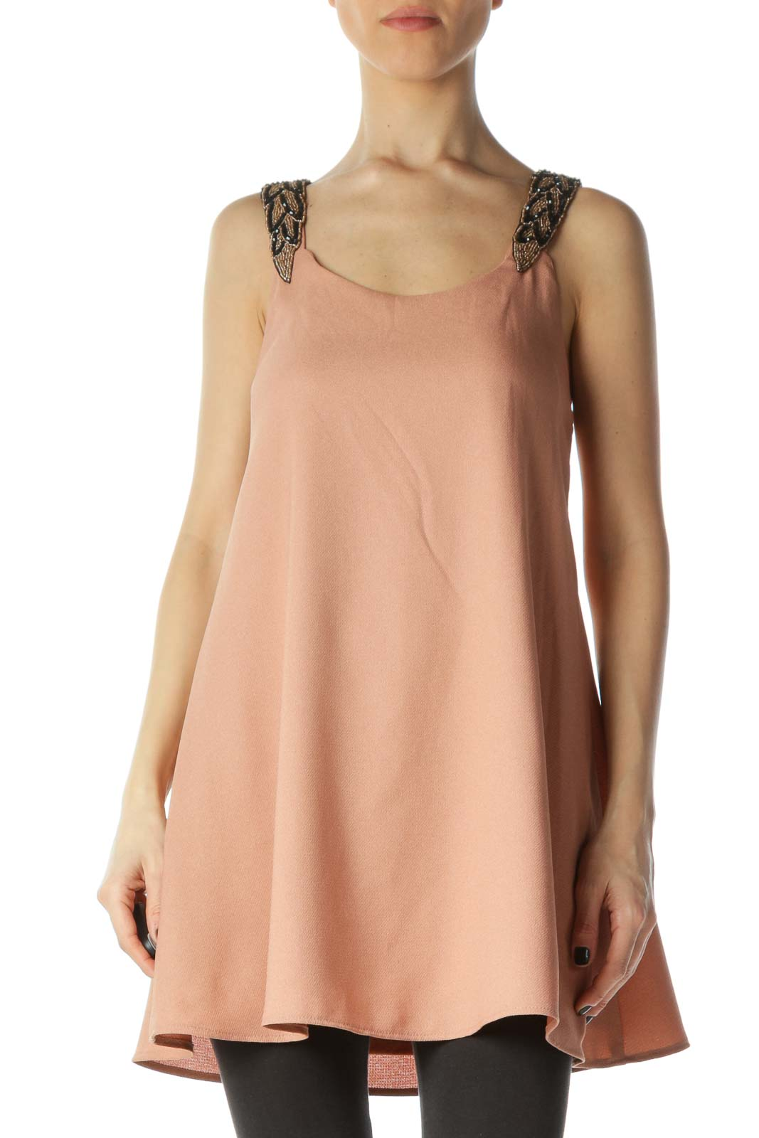 Pink Embroidered Tank Top Front