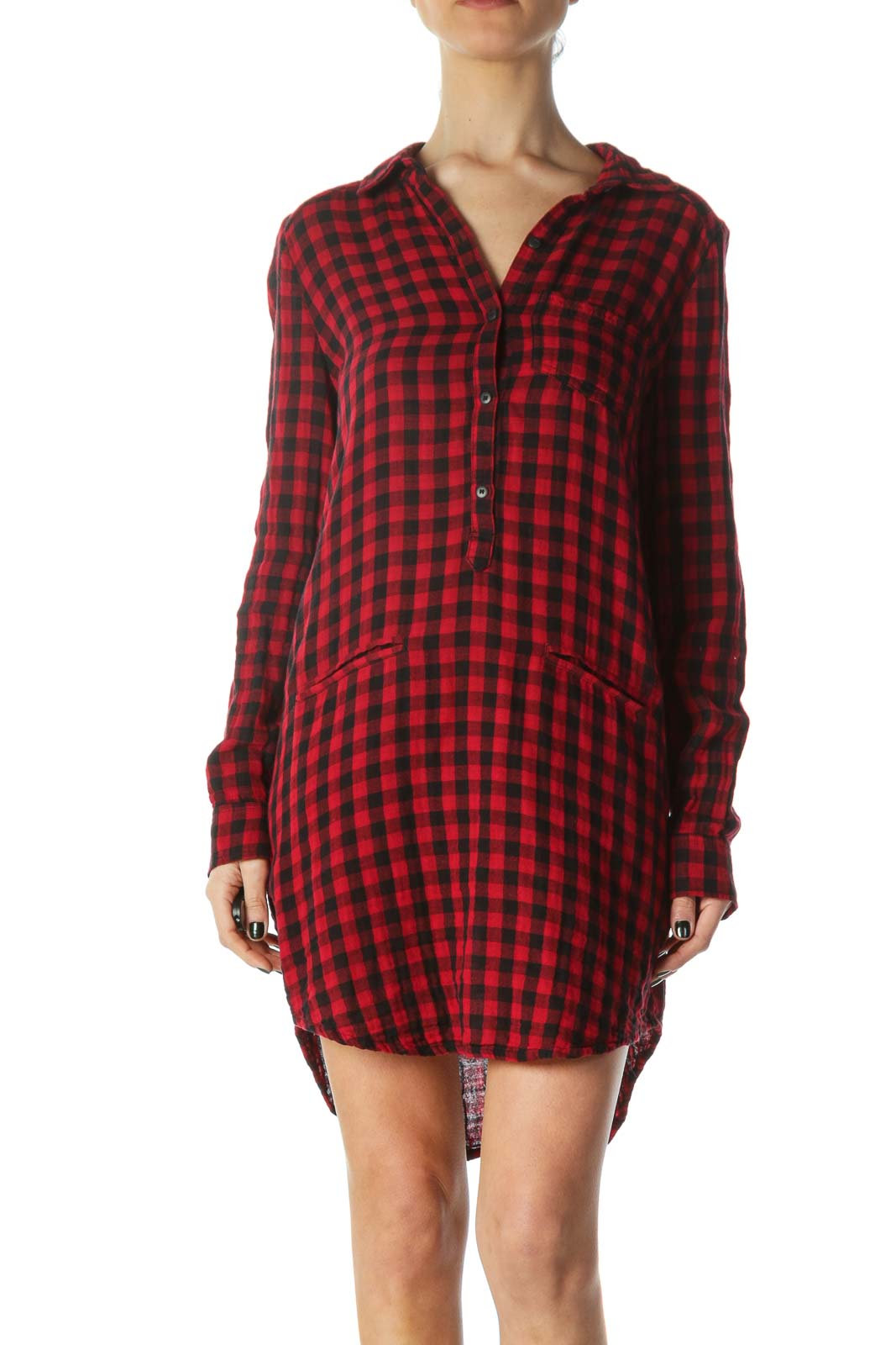 Red Plaid Pocketed Shirt Dress Front