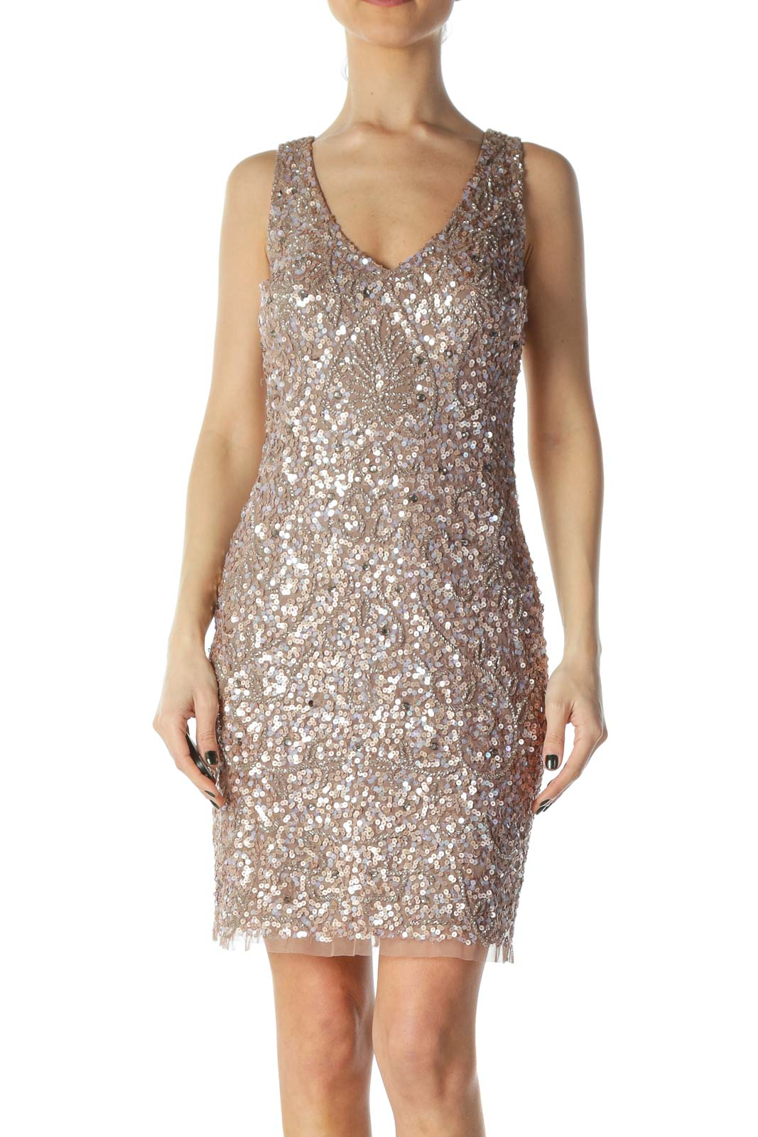 Pink Sequined Cocktail Dress Front