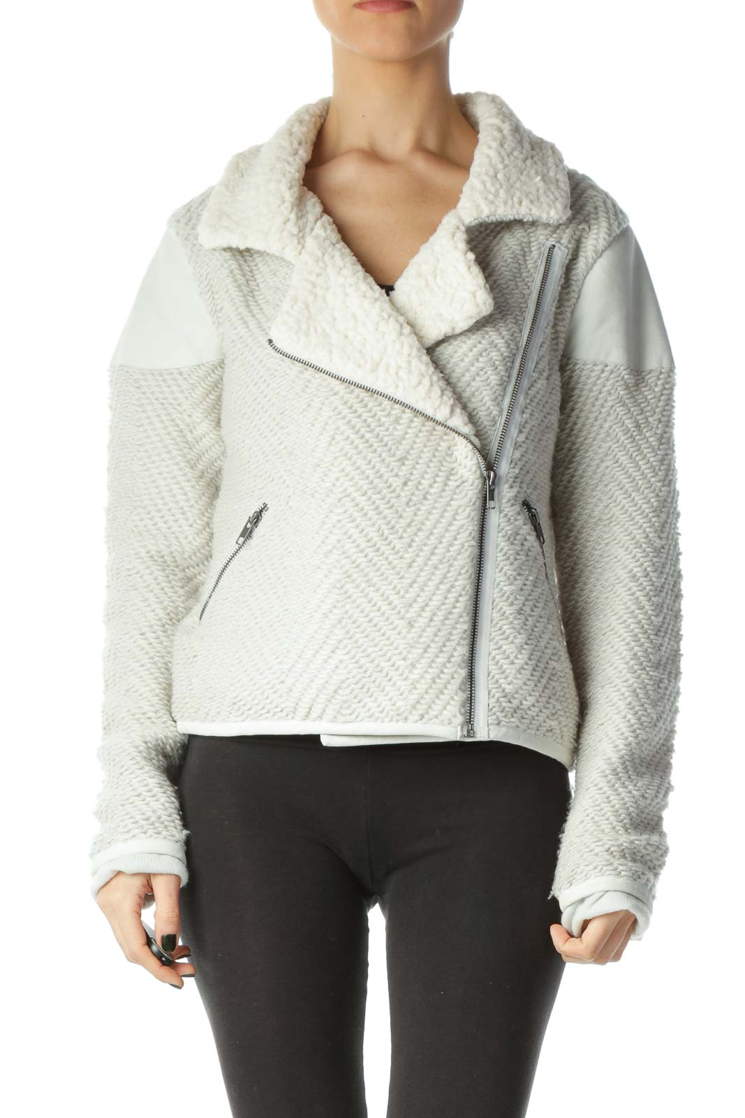 Gray Cream Faux-Fur Textured Jacket Front