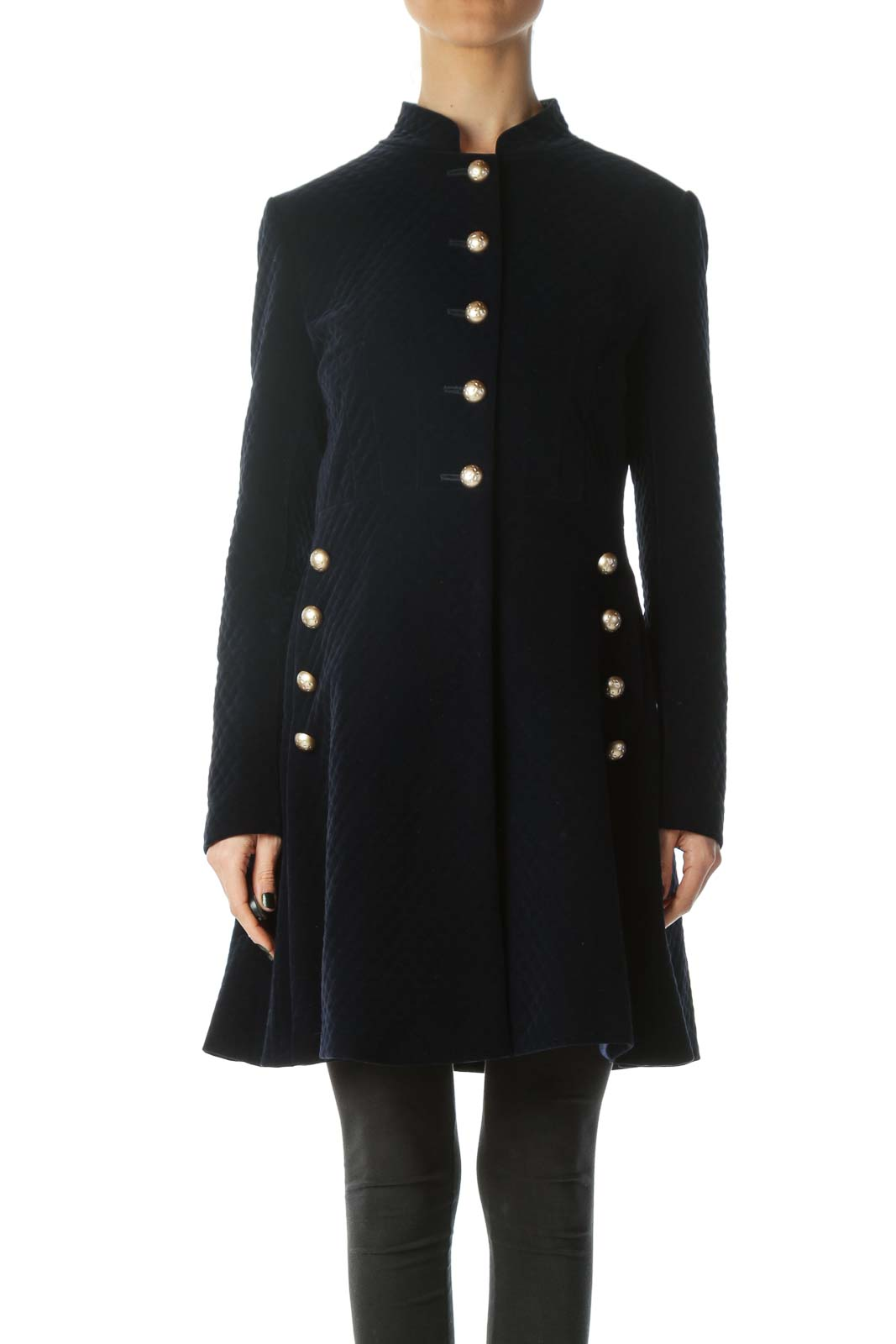 Blue Metallic Buttons Padded Long Jacket Front