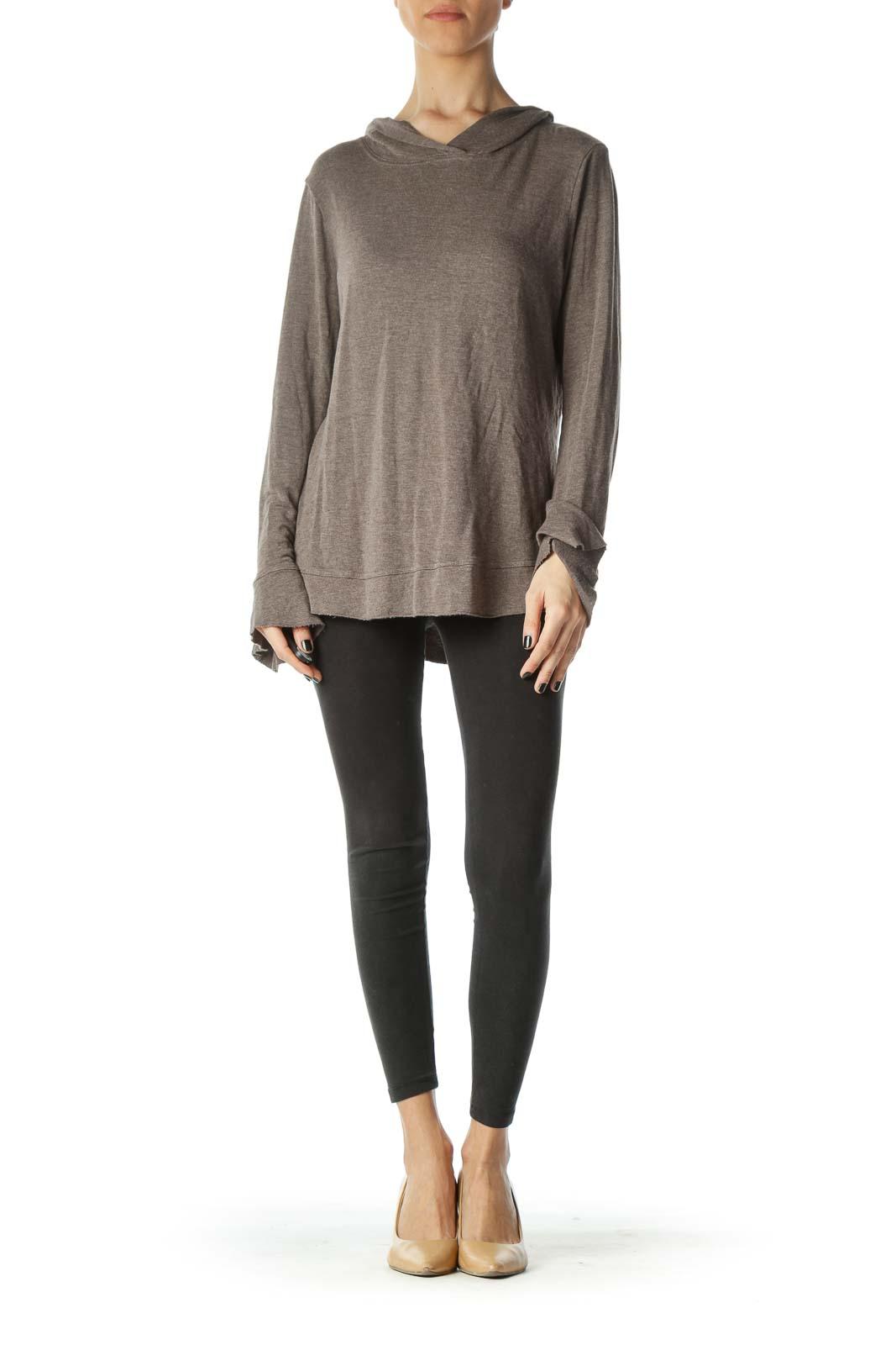 Brown Hooded Sweatshirt Front