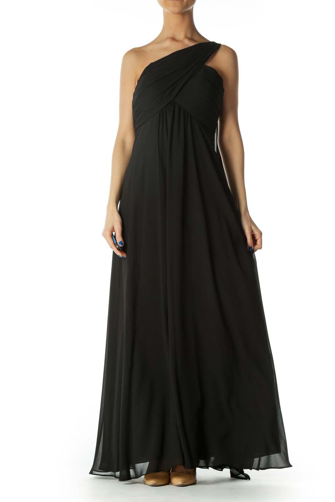 Black One Shoulder Evening Gown Front