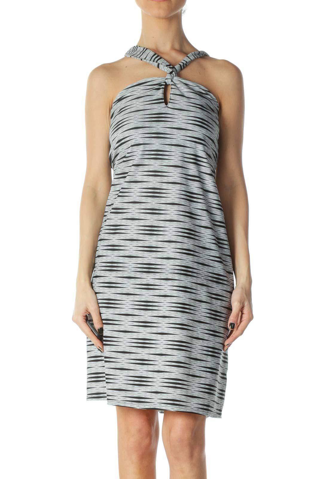 Grey Spandex Criss-Cross Keyhole Dress Front