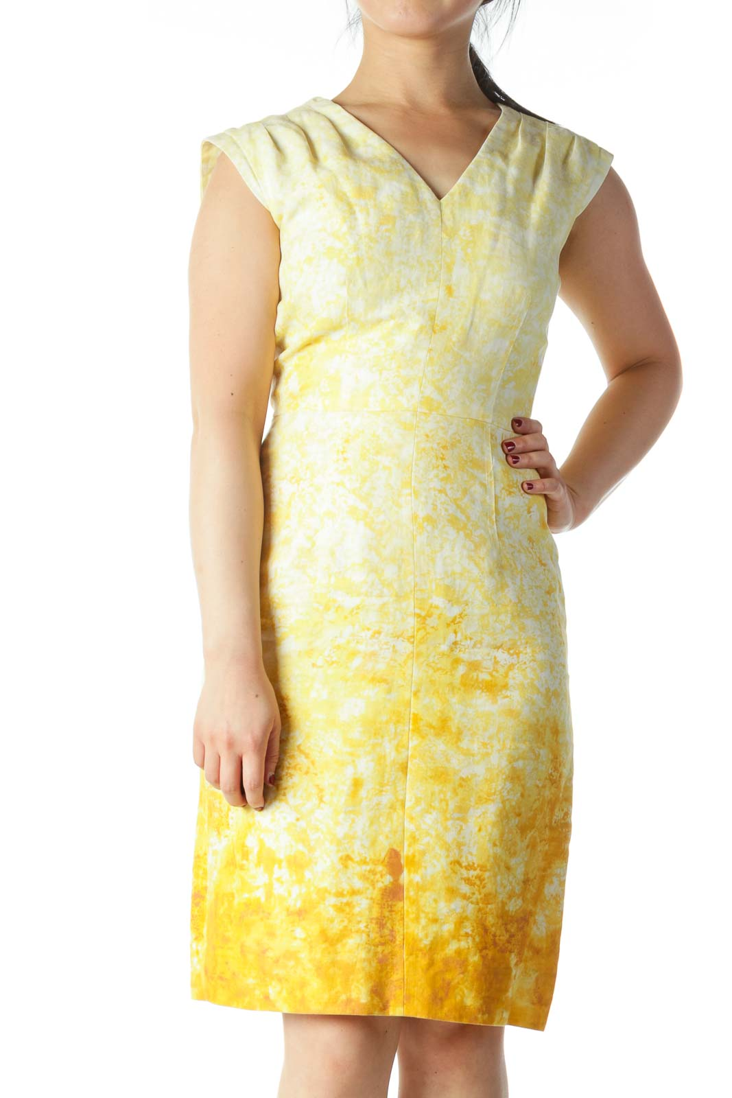 Yellow and Cream Tie Dye V- Neck Dress Front