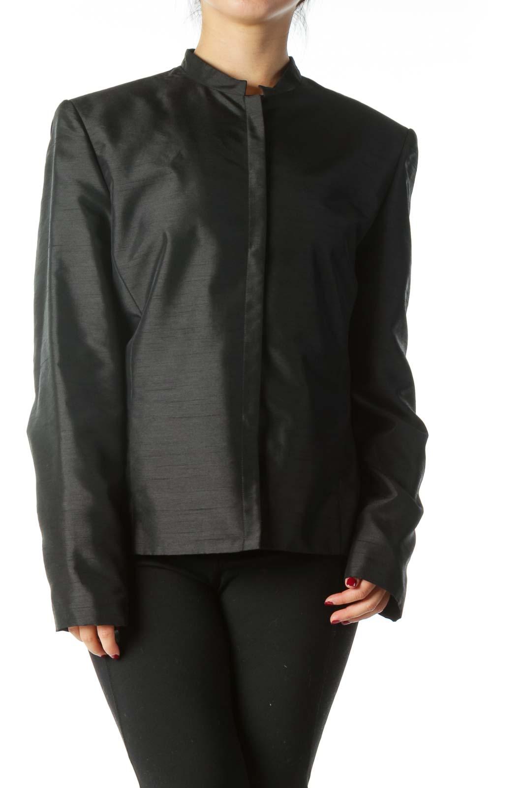 Black Textured Suit Jacket Front