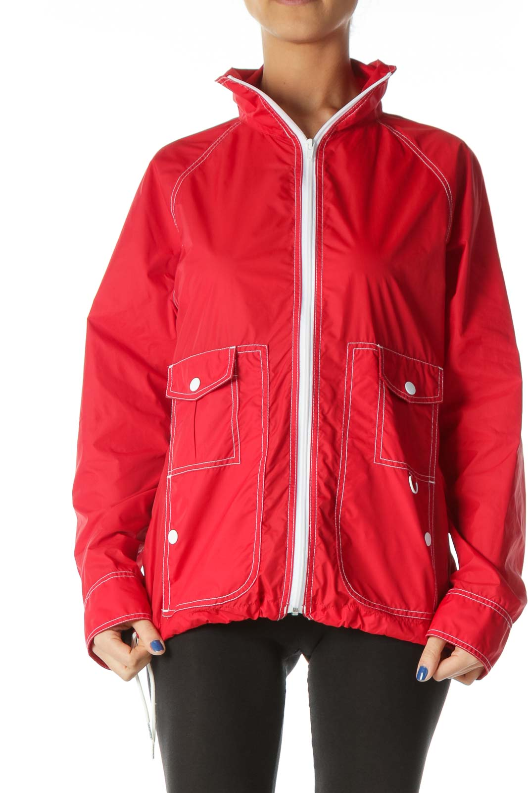 Red White-Topstitching Light Sports Jacket Front