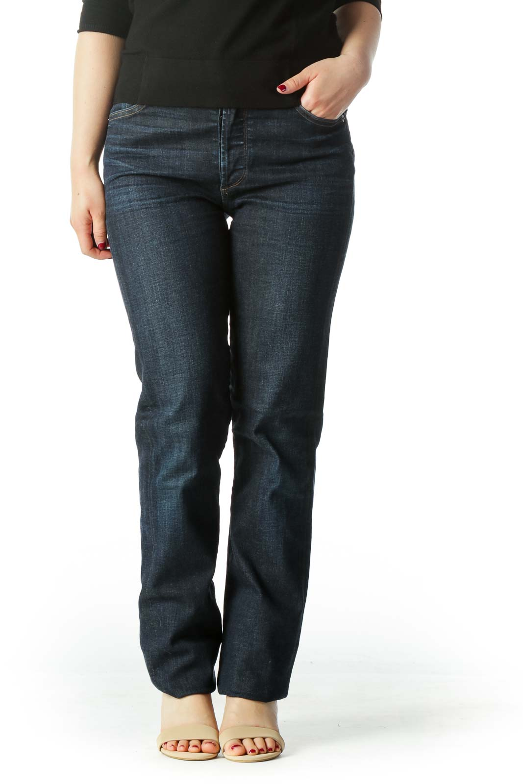 Blue High Waisted Straight Leg Denim Jean  Front