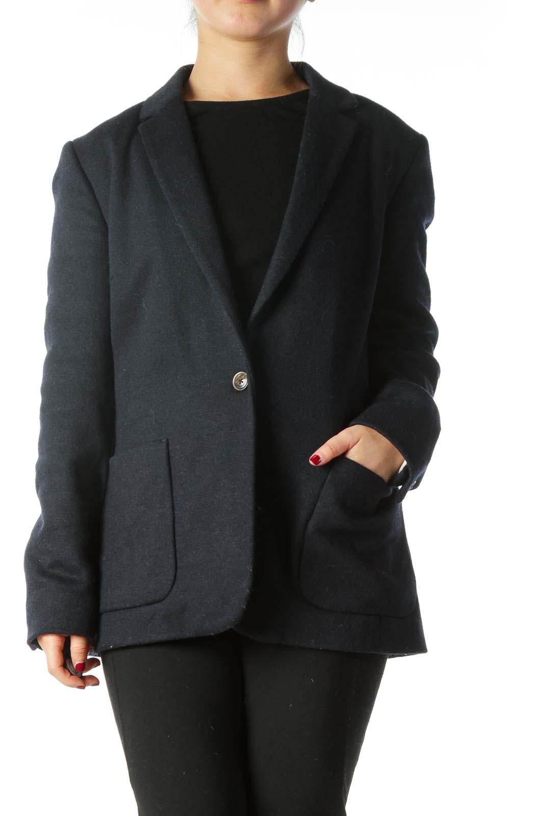 Navy Blue Wool Blazer  Front