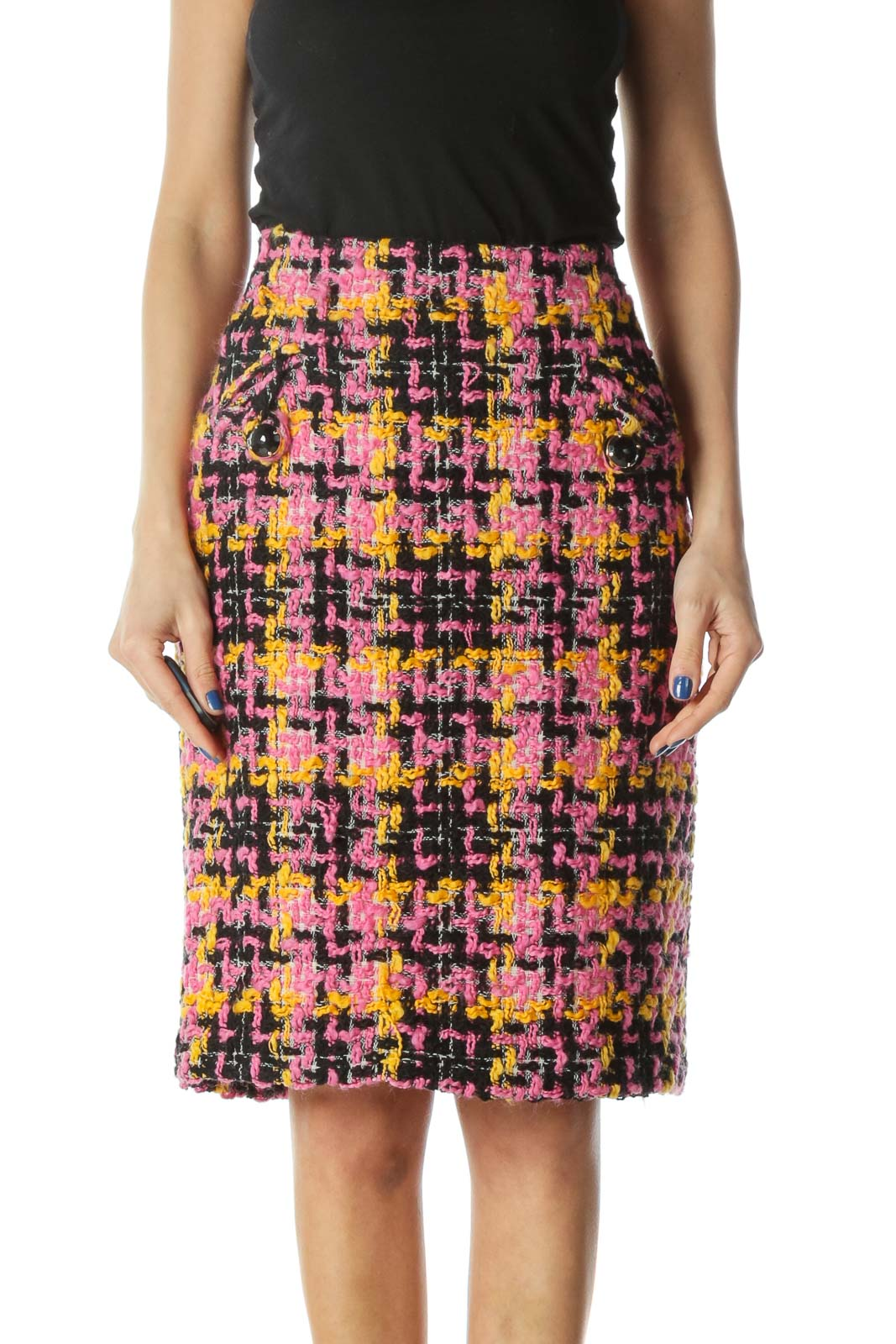 Pink, Yellow, Black Wool Pencil Skirt Front
