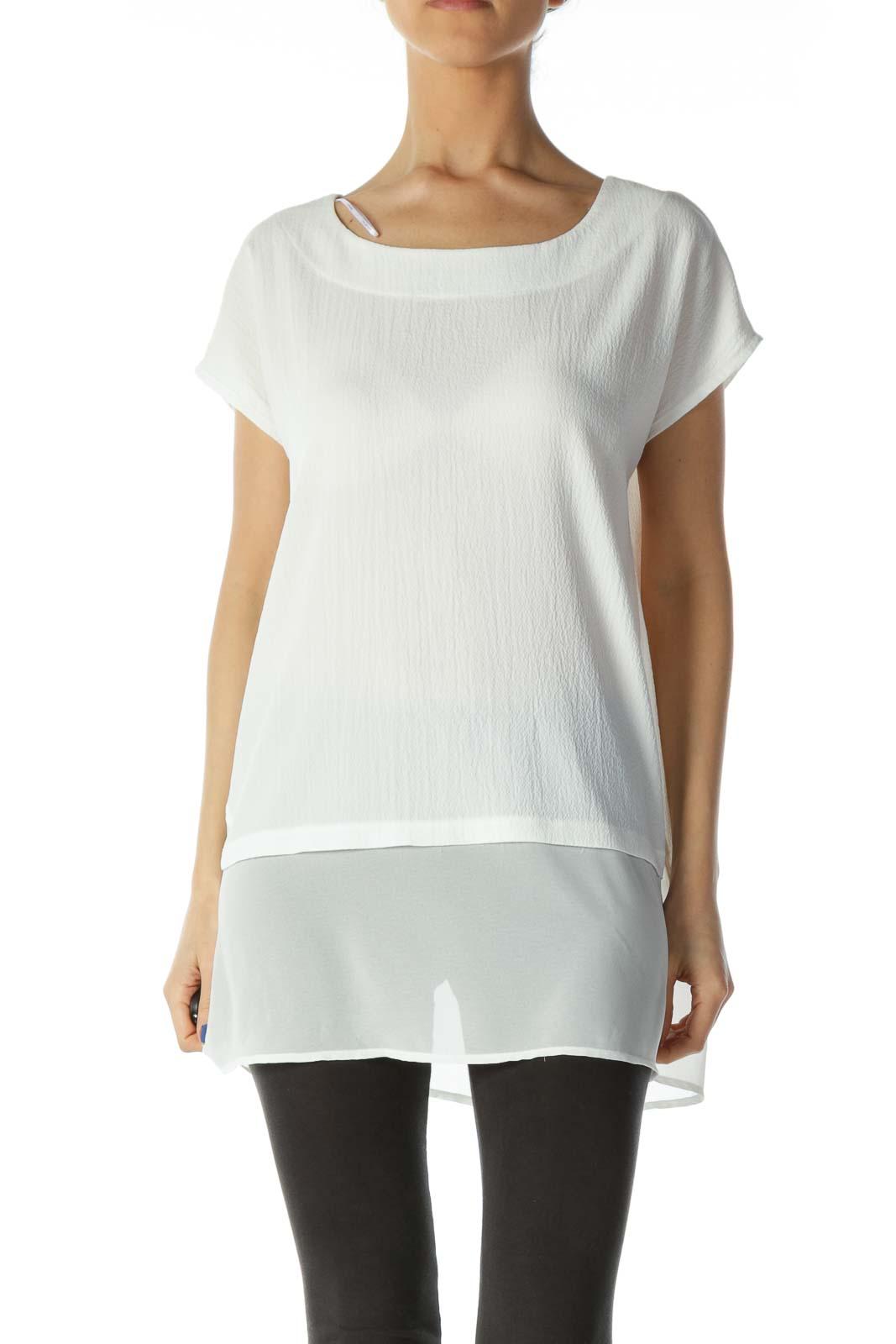 White Sheer Blouse  Front