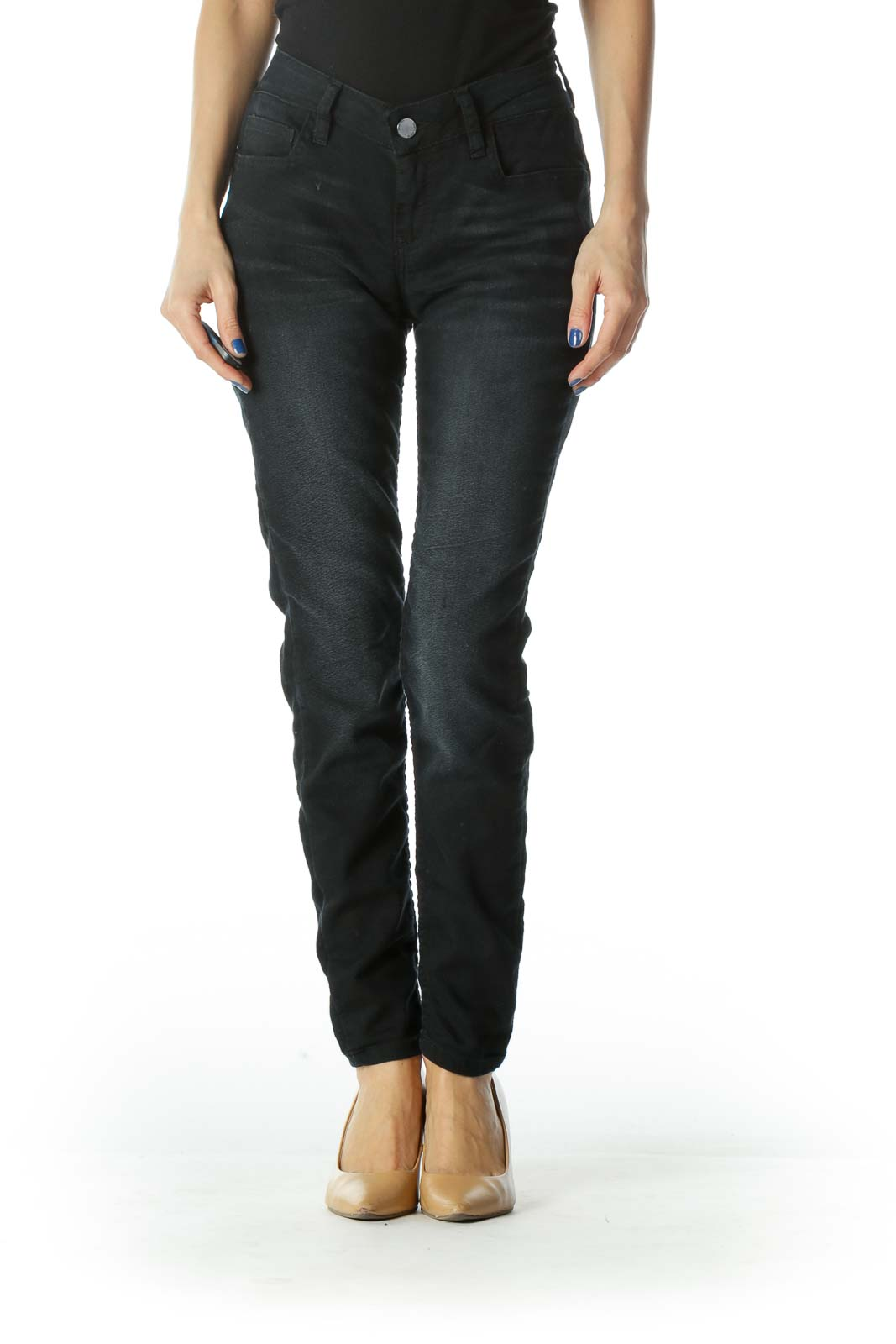 Black Faded Skinny Denim Jean   Front