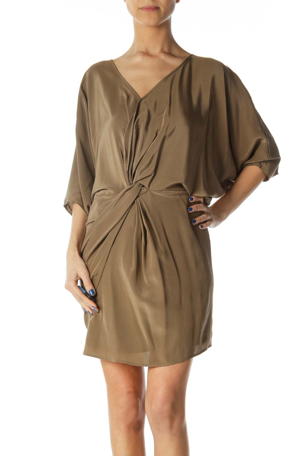 Brown Silk Day Dress Front