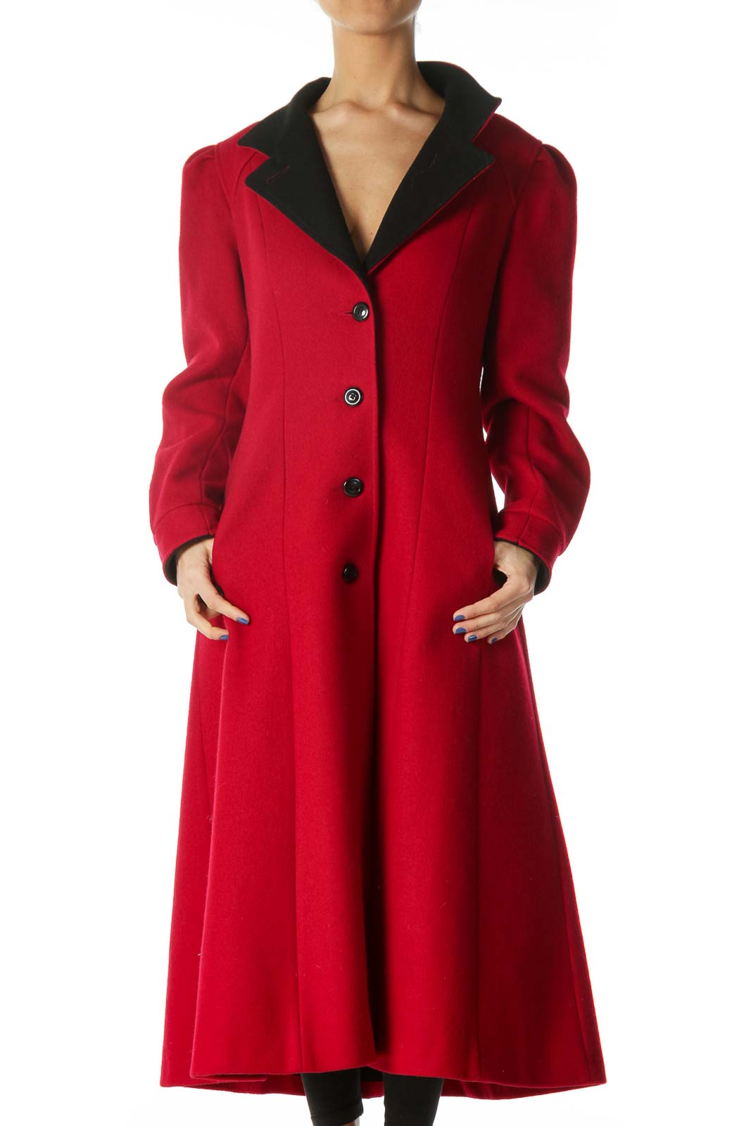 Red Single Breasted Knit Heavy Coat  Front