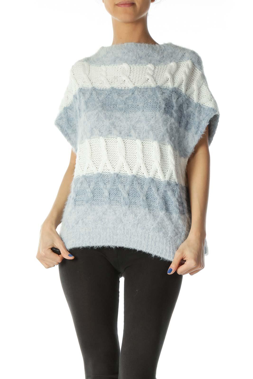 Blue White Knit Horizontal Stripes Fluffy Vest Front