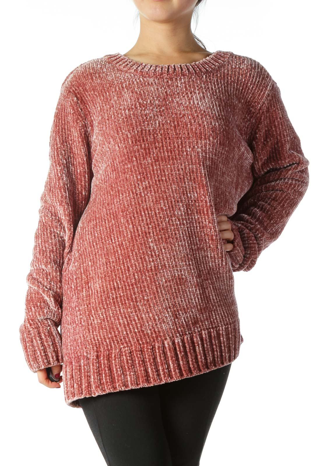 Pink Oversized Knit Sweater  Front