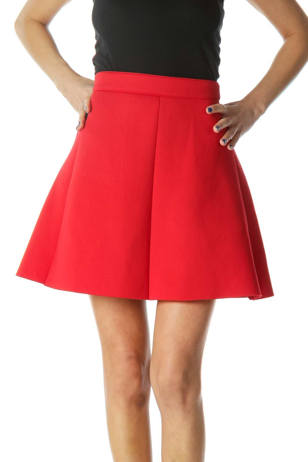 Red Flared Skater Mini Skirt Front
