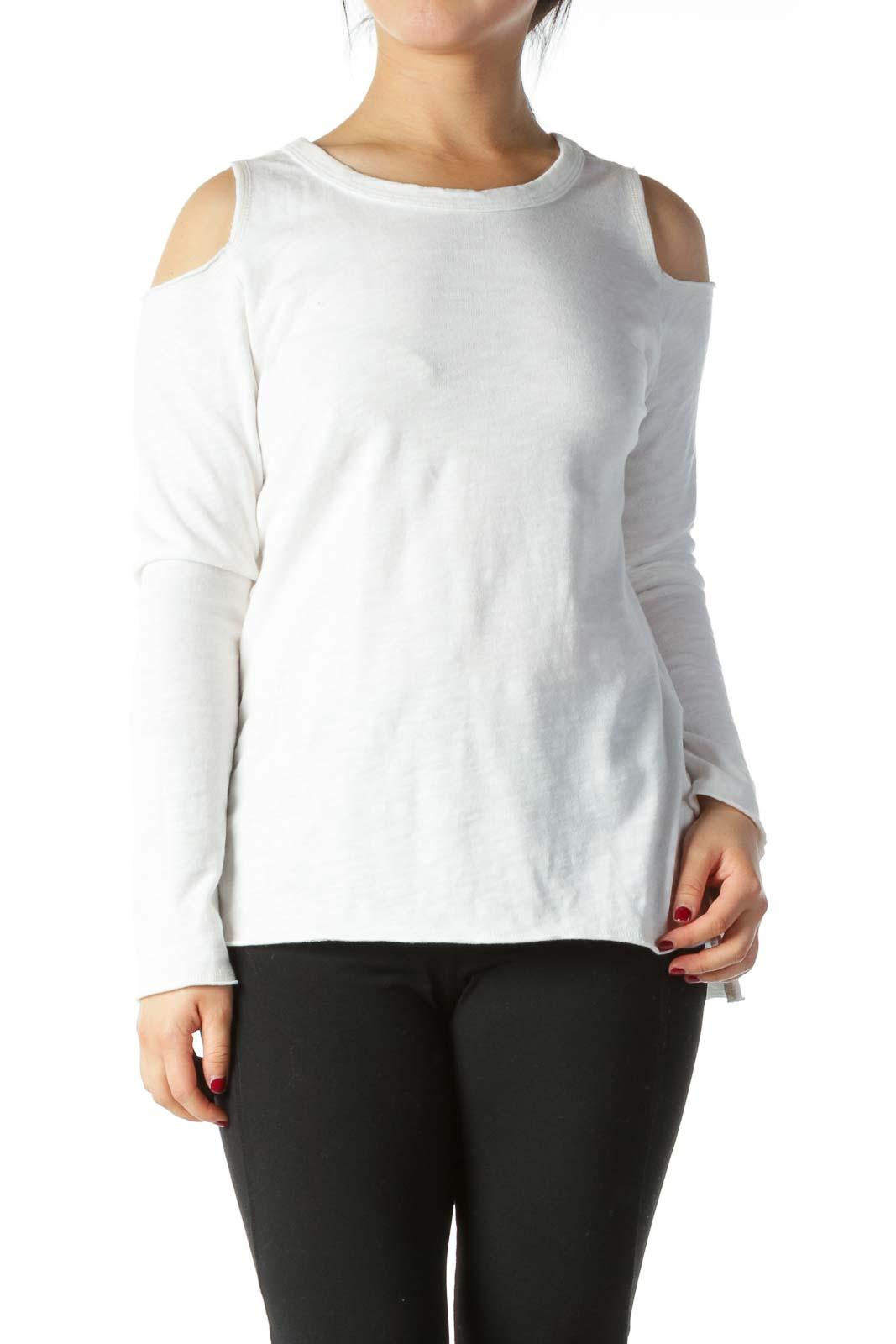 White 100% Cotton Cold-Shoulder Knit Top Front