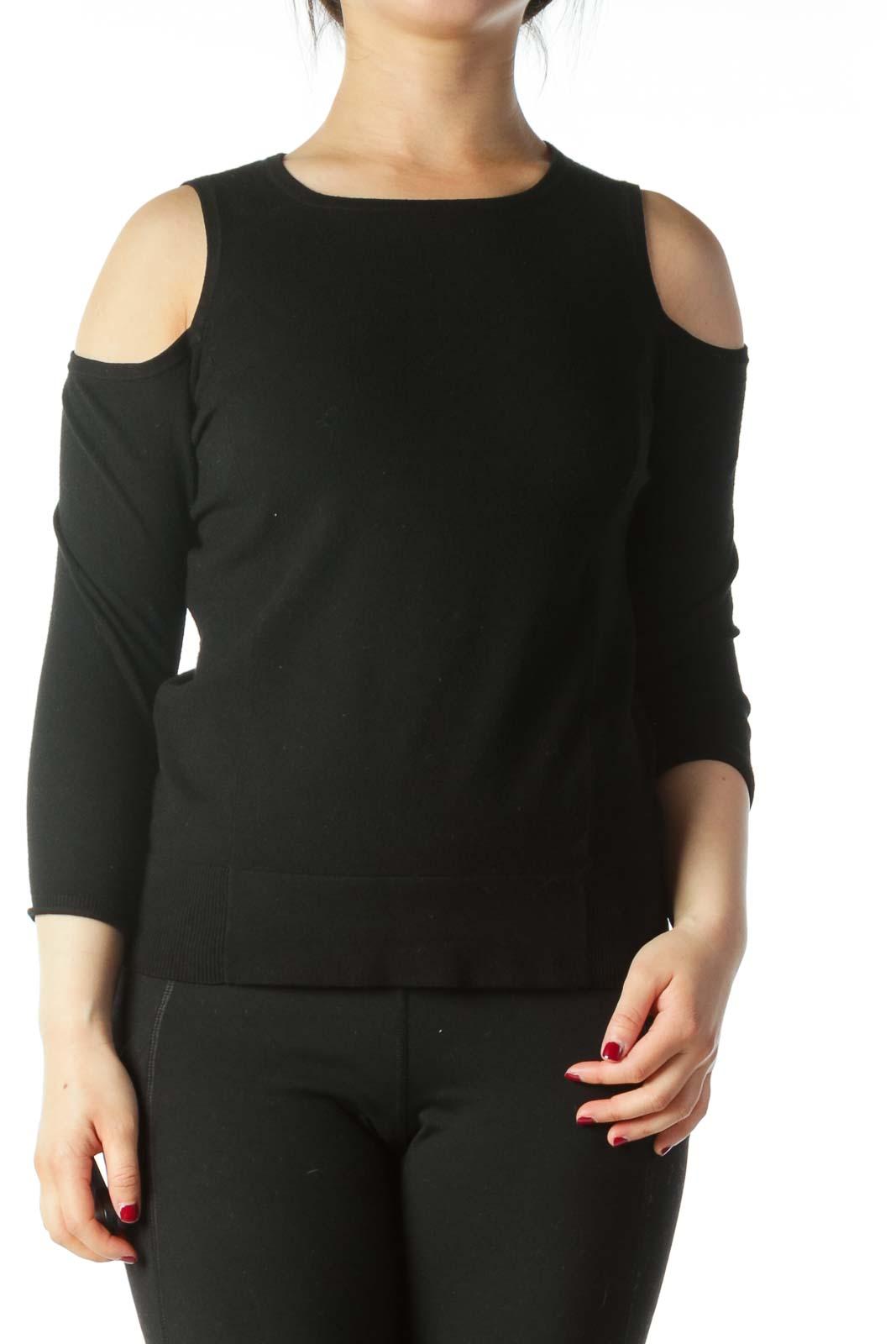 Black Cold-Shoulder Stretch 3/4 Sleeve Knit Top Front