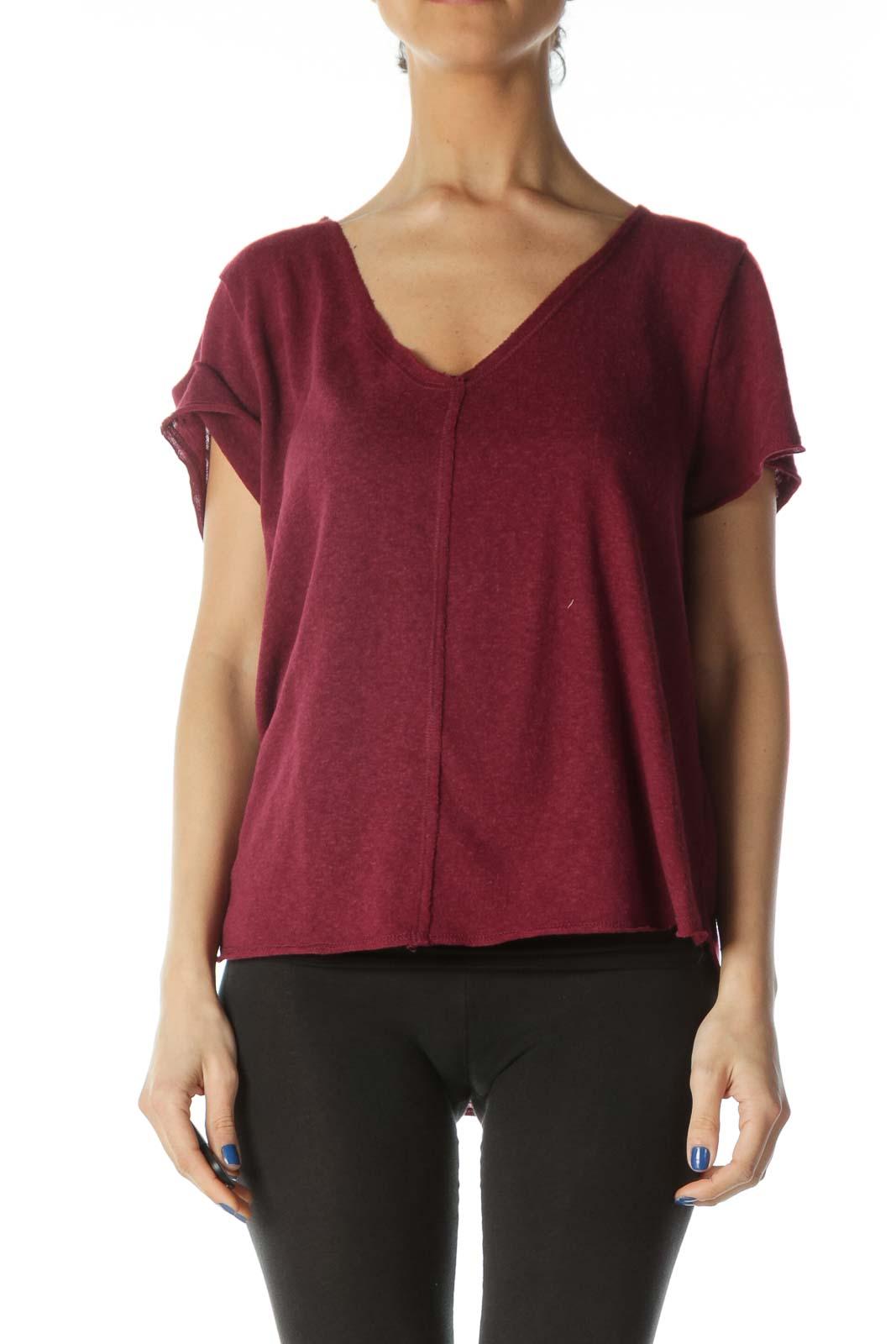 Burgundy Short Sleeve Knit Shirt   Front