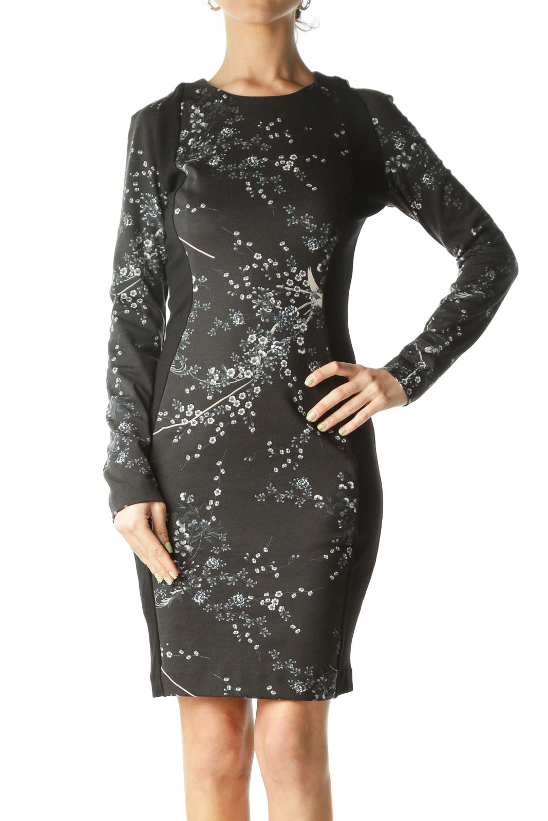 Black Floral Long-Sleeve Bodycon Dress   Front