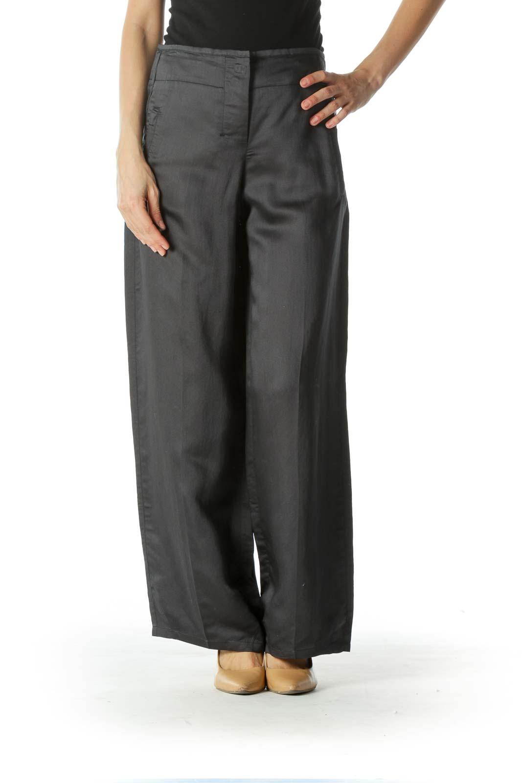 Gray Drawstring Waist Wide Leg Pants Front