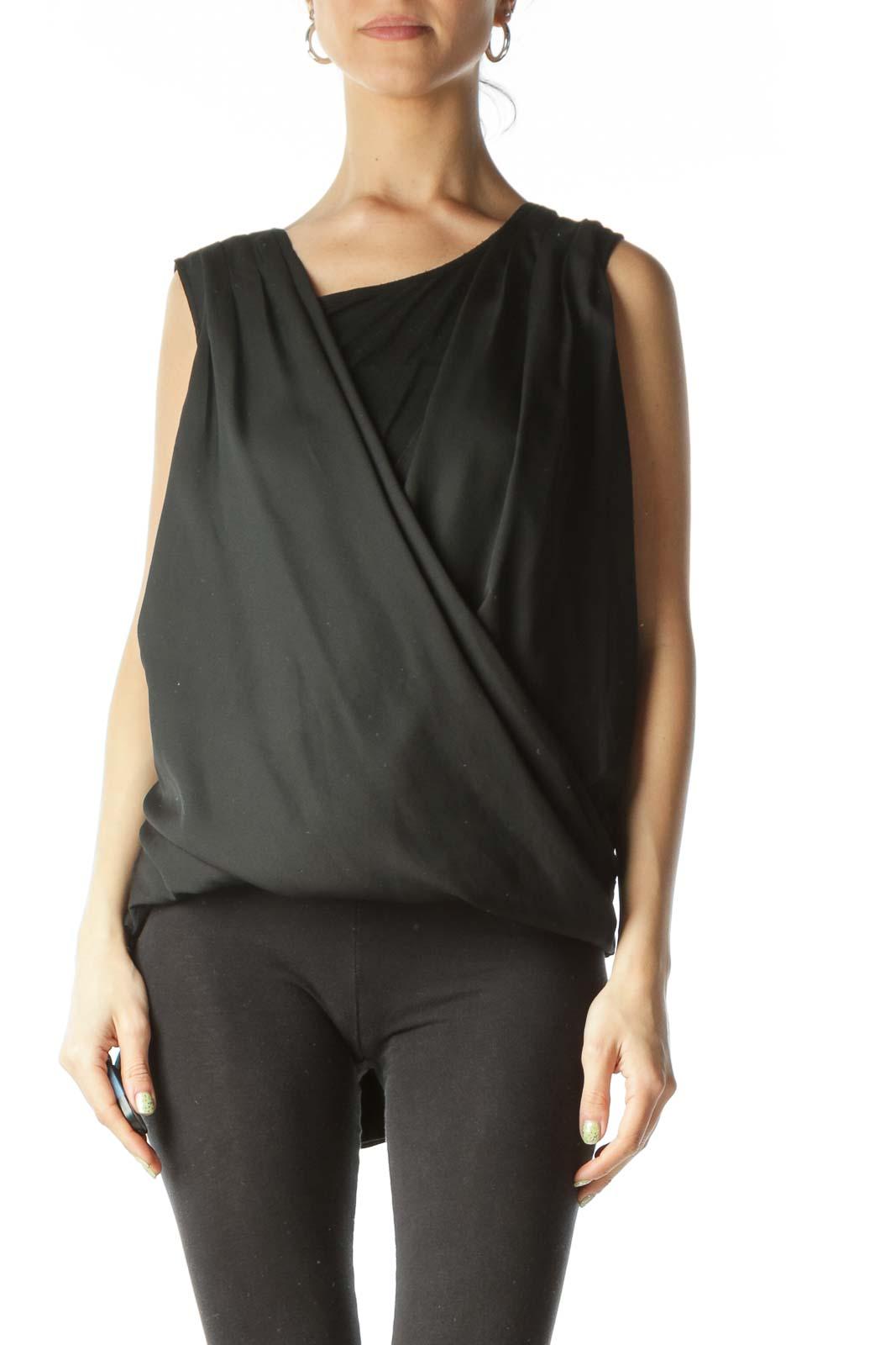 Black V-Neck Draped Sleeveless Blouse  Front