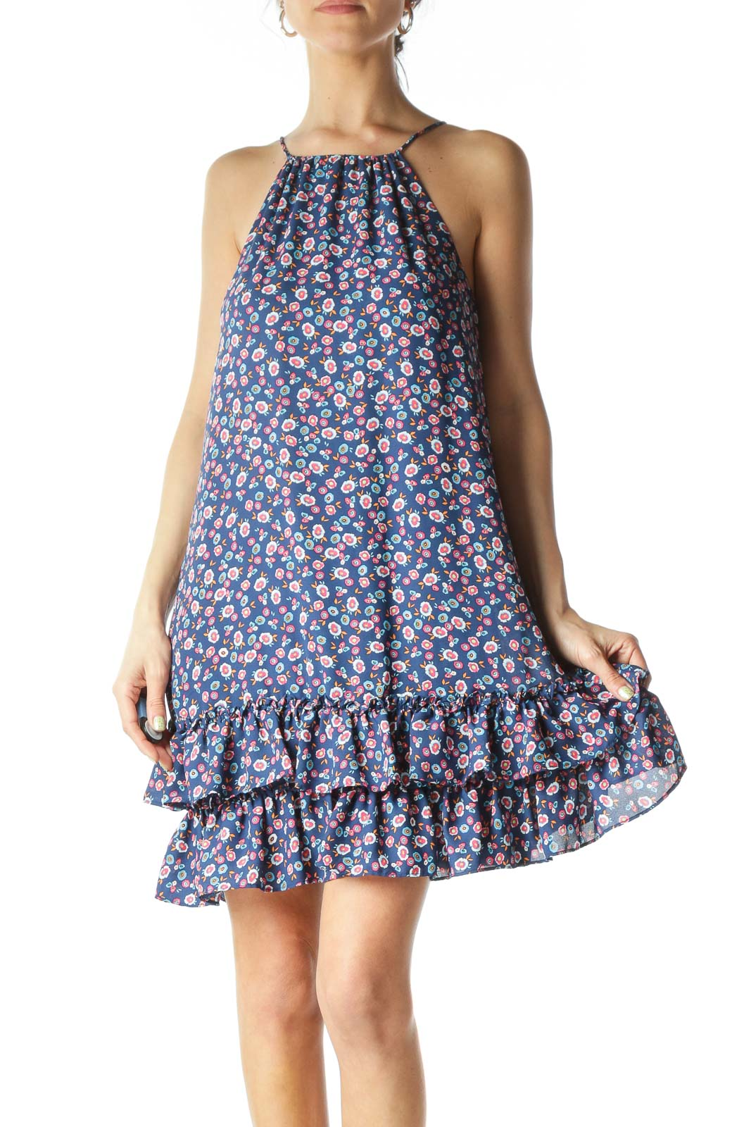 Blue and Pink Floral Dress  Front