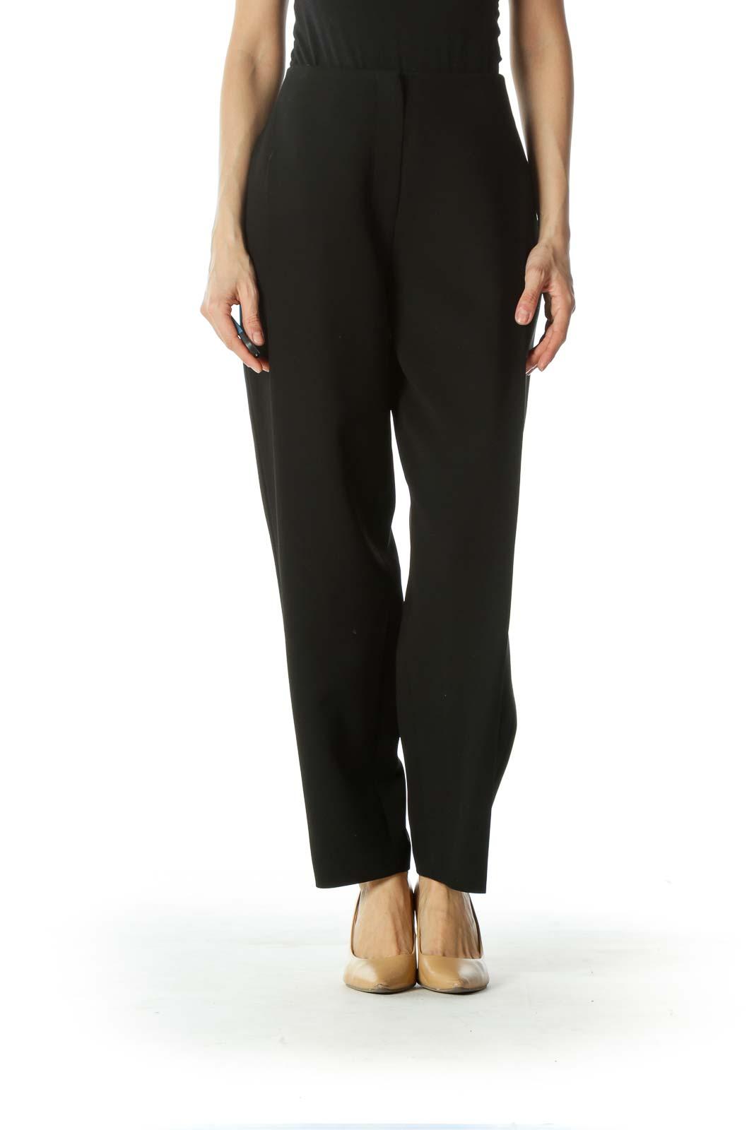 Black Pleated Straight leg Pants Front