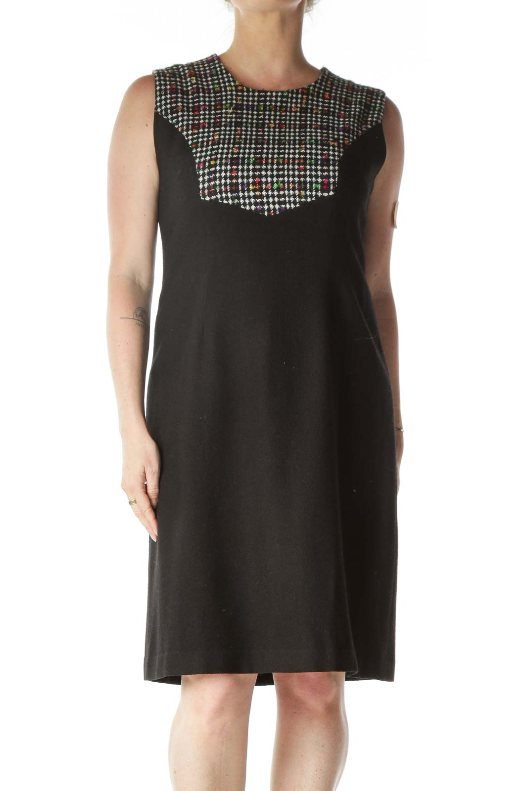 Black and Multicolor Detail Sleeveless Dress  Front